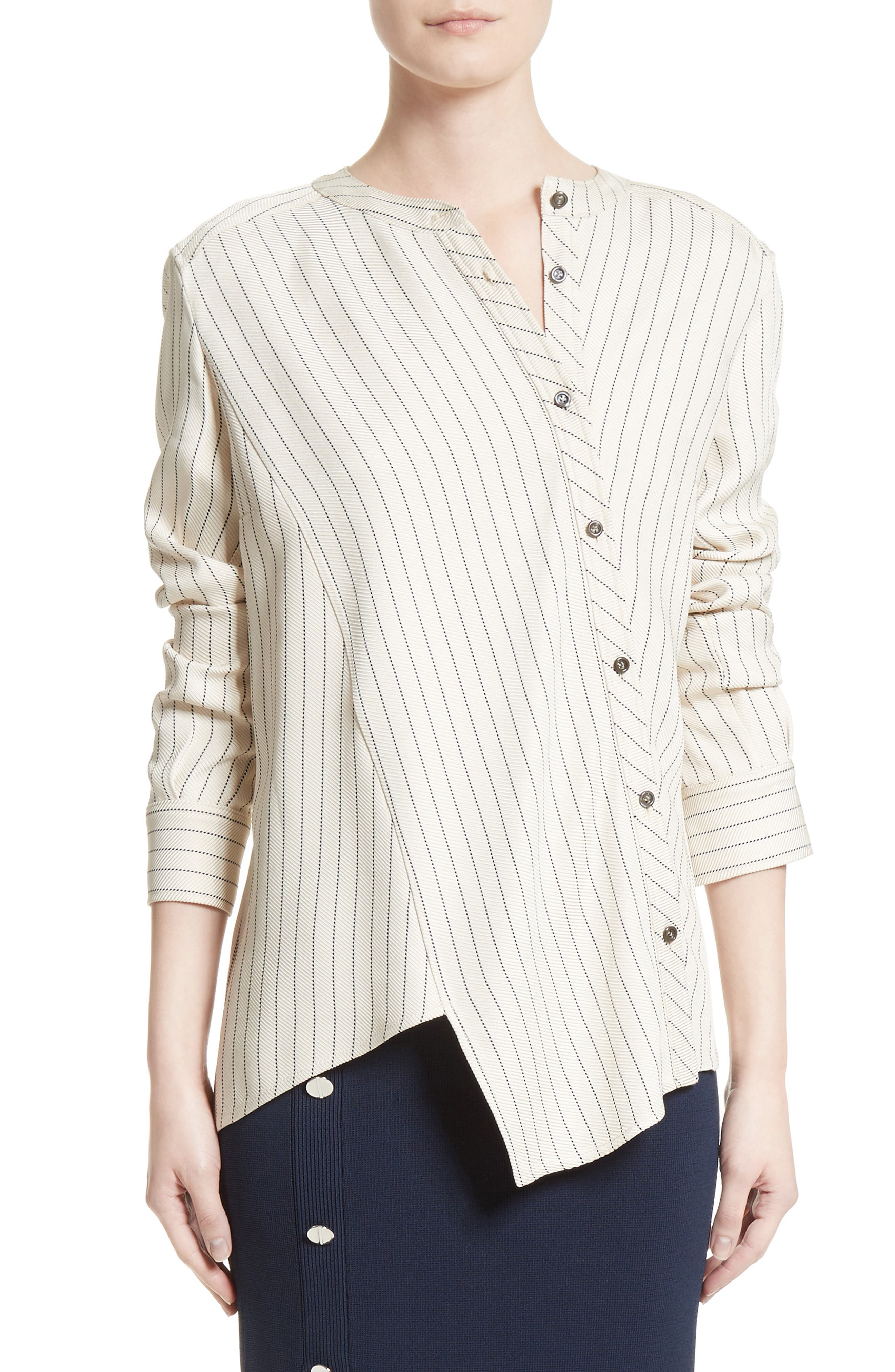 Asymmetrical Pinstripe Blouse,                             Main thumbnail 1, color,                             900
