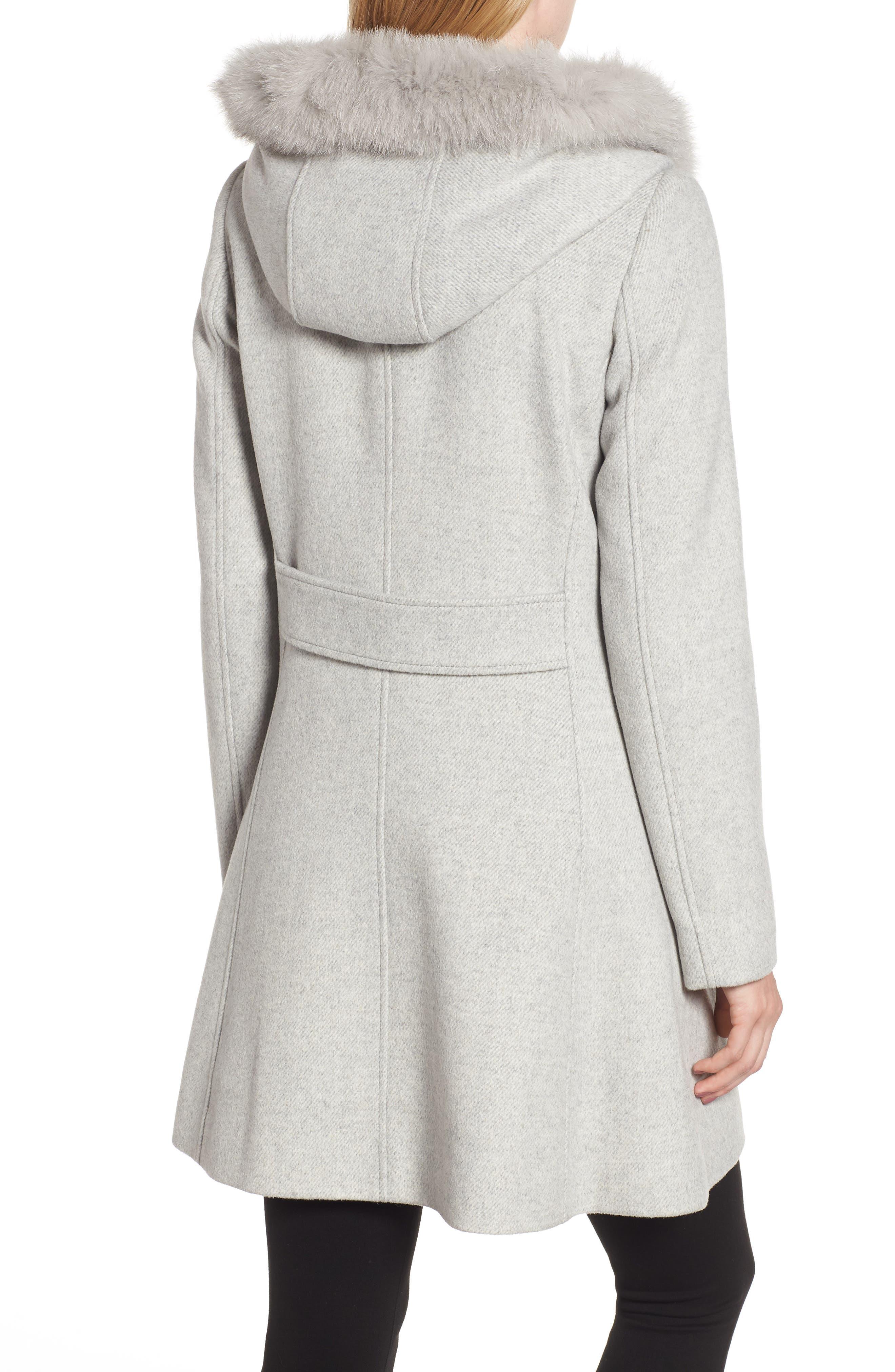 KRISTEN BLAKE,                             Genuine Fox Trim Hooded Wool Coat,                             Alternate thumbnail 2, color,                             GREY MELANGE