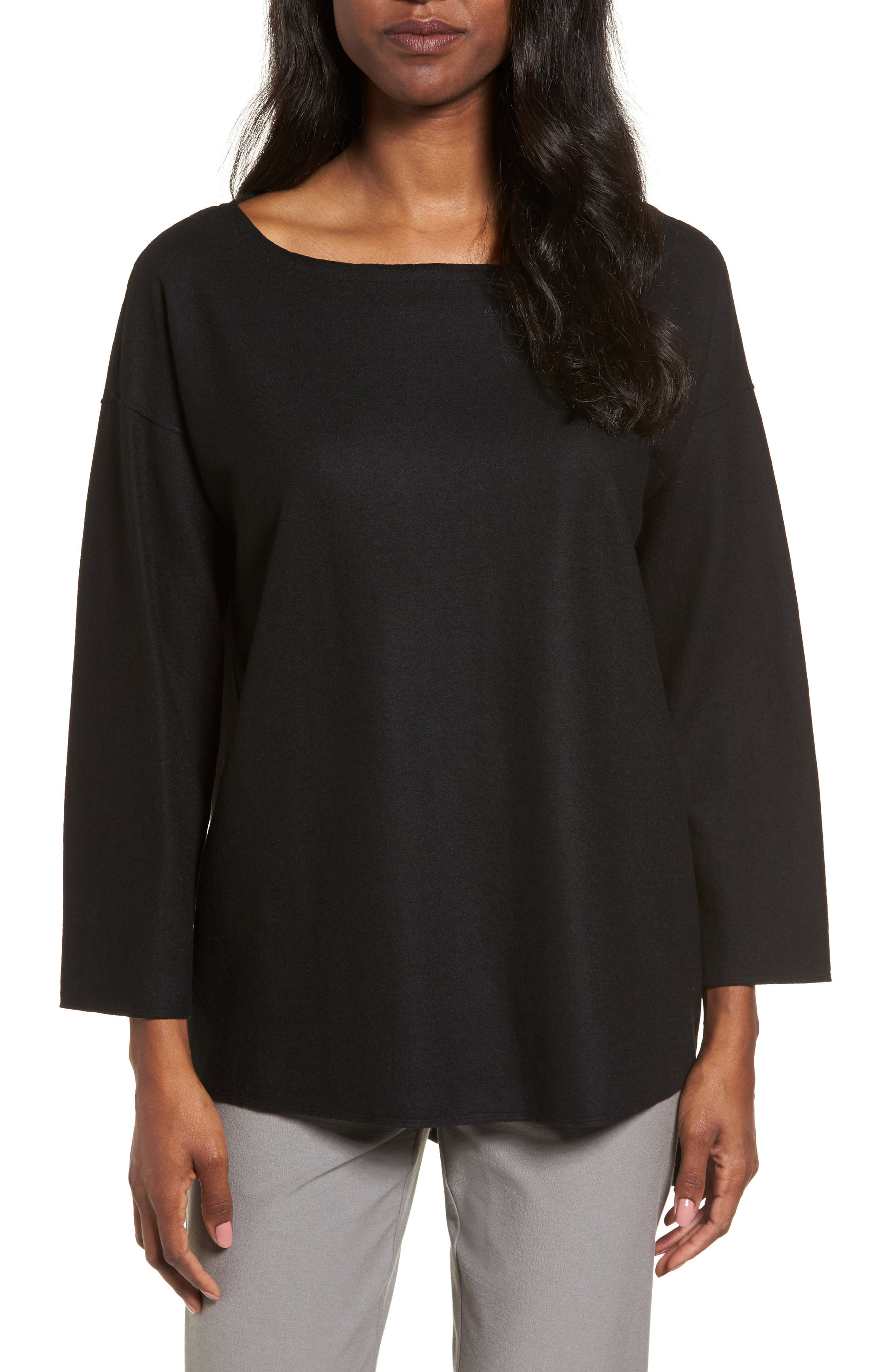 Boiled Wool Jersey Top,                         Main,                         color, 001