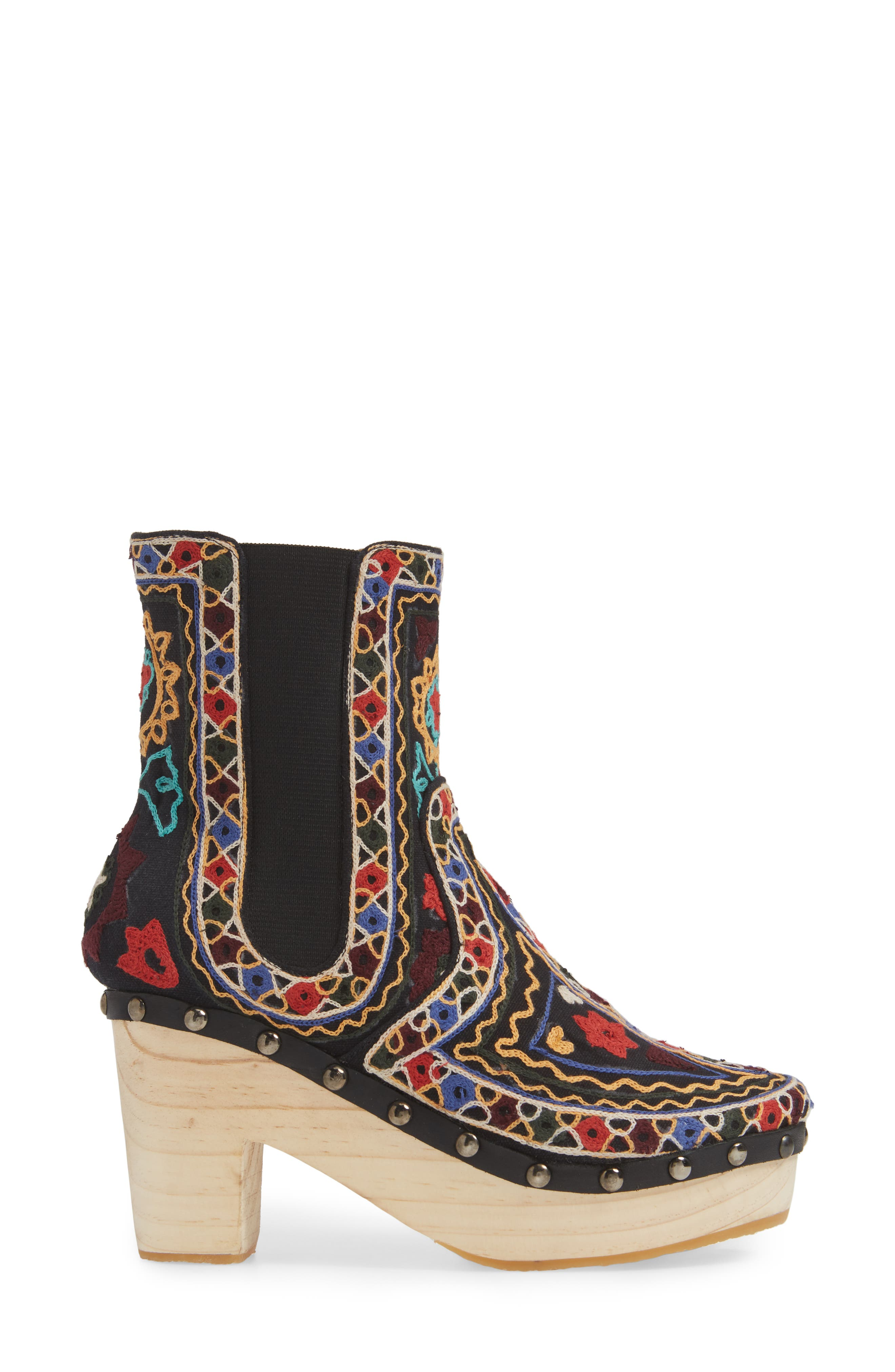 FREE PEOPLE,                             West Johanna Clog Bootie,                             Alternate thumbnail 3, color,                             BLACK EMBROIDERED FABRIC