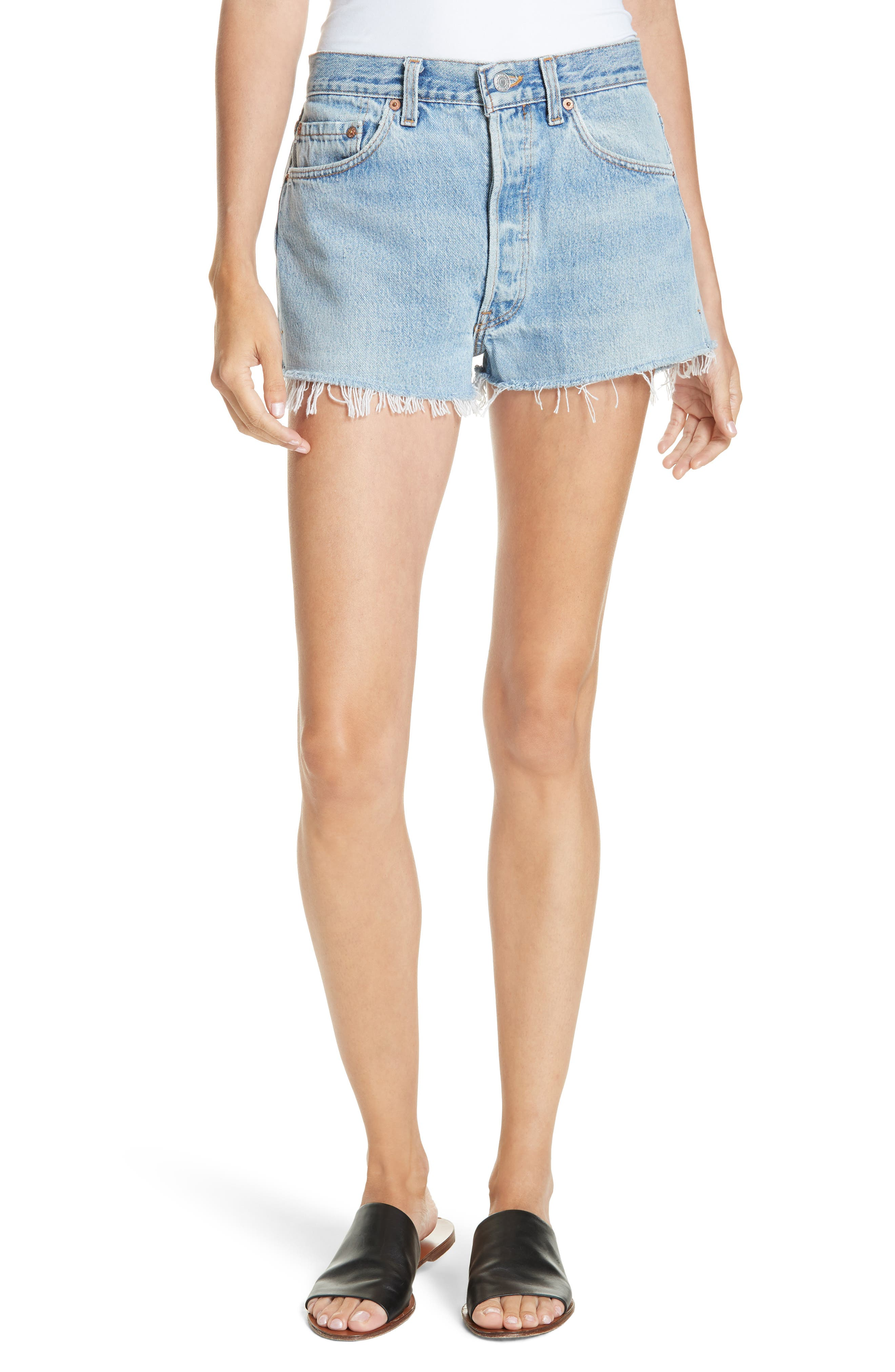 The Short Denim Shorts,                             Main thumbnail 1, color,                             INDIGO