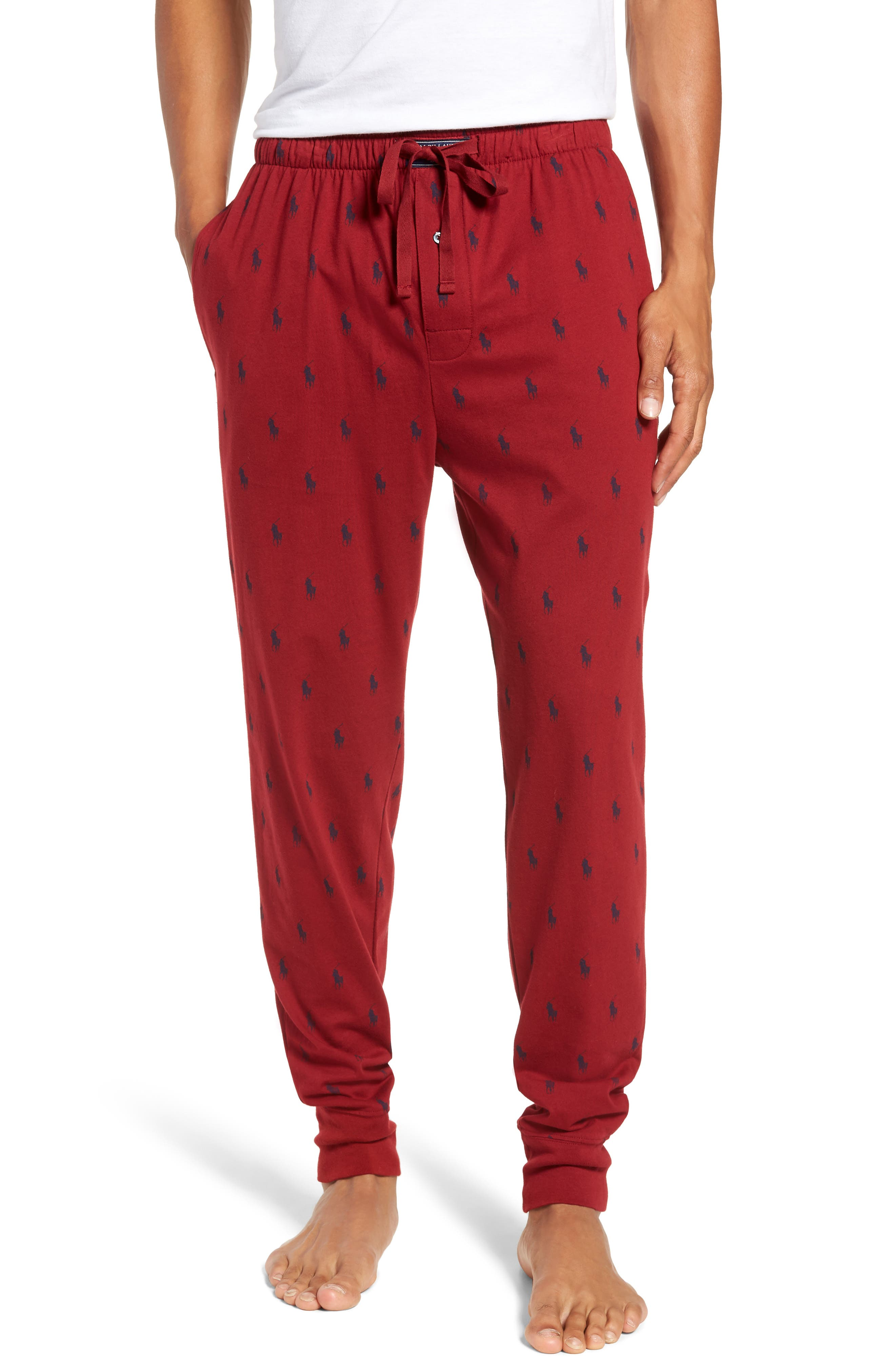 Cotton Lounge Pants,                         Main,                         color, HOLIDAY RED/ CRUISE NAVY