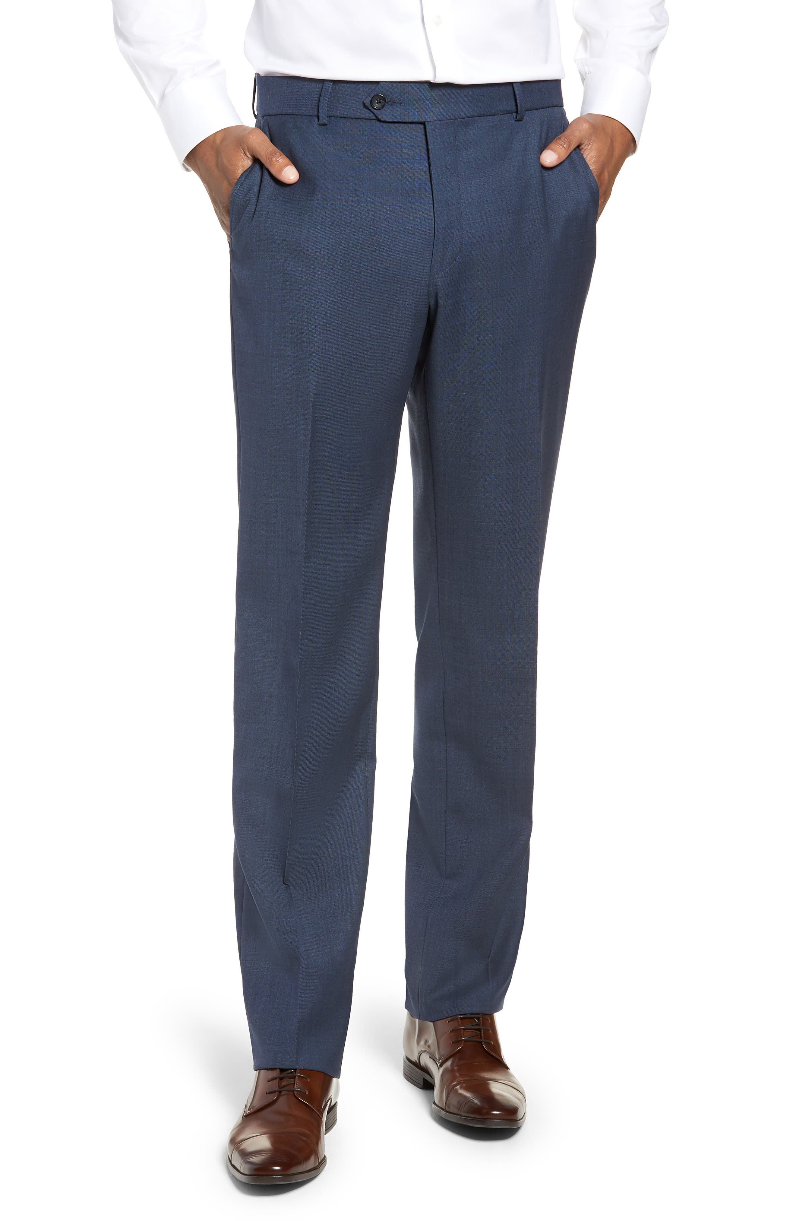 Flat Front Sharkskin Wool Trousers,                         Main,                         color, NEW NAVY