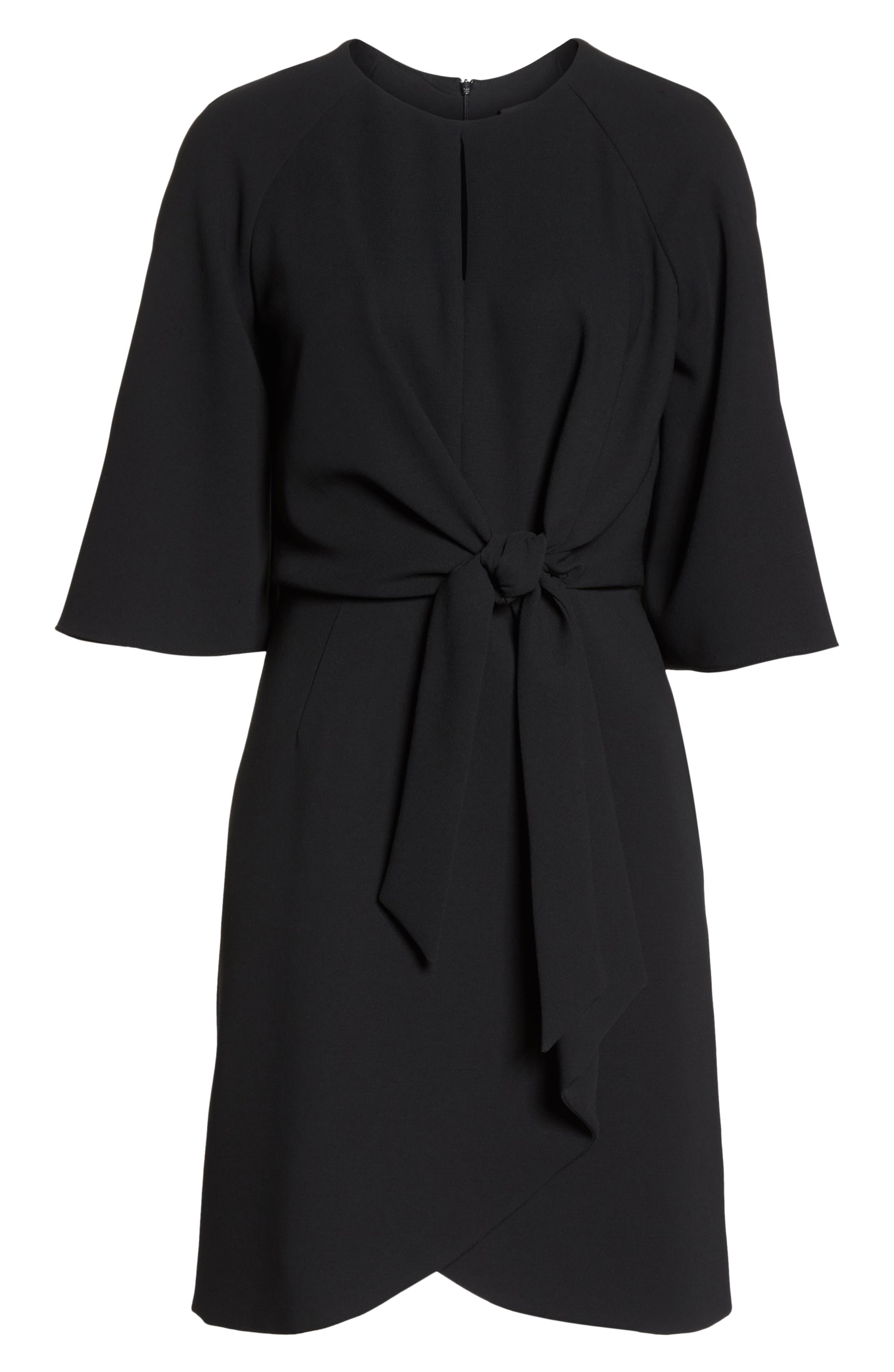 Tie Front Crepe Dress,                             Alternate thumbnail 7, color,                             BLACK