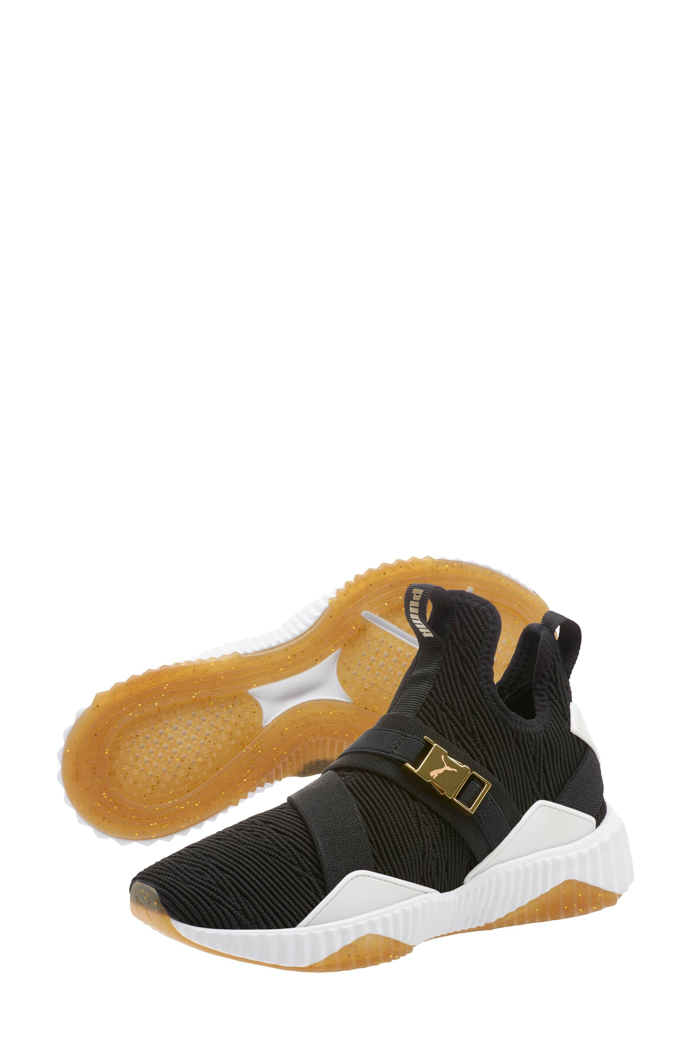Defy Mid Varsity Sneaker,                             Alternate thumbnail 6, color,                             PUMA BLACK/ METALLIC GOLD