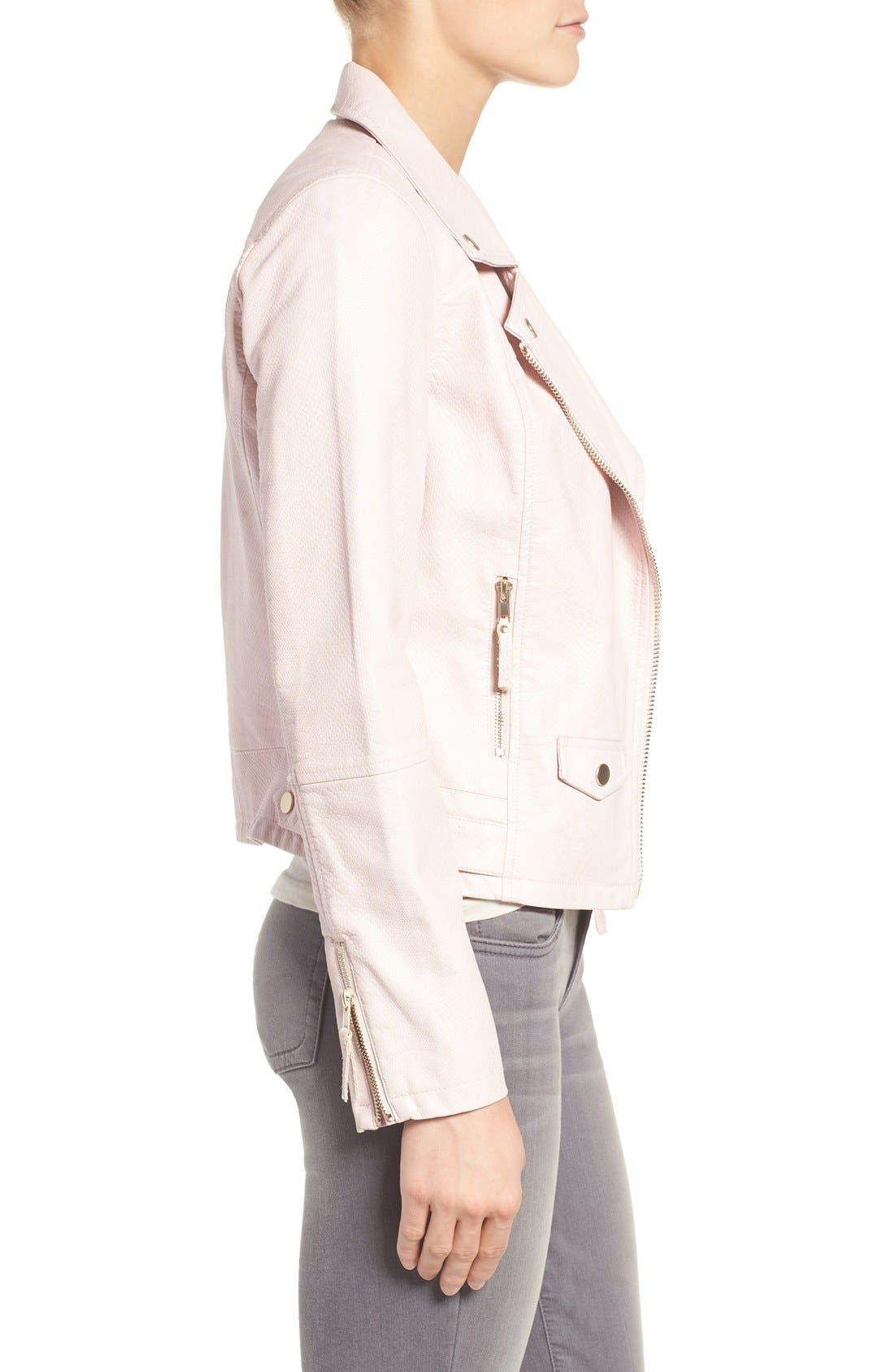 Brooke Faux Leather Moto Jacket,                             Alternate thumbnail 6, color,