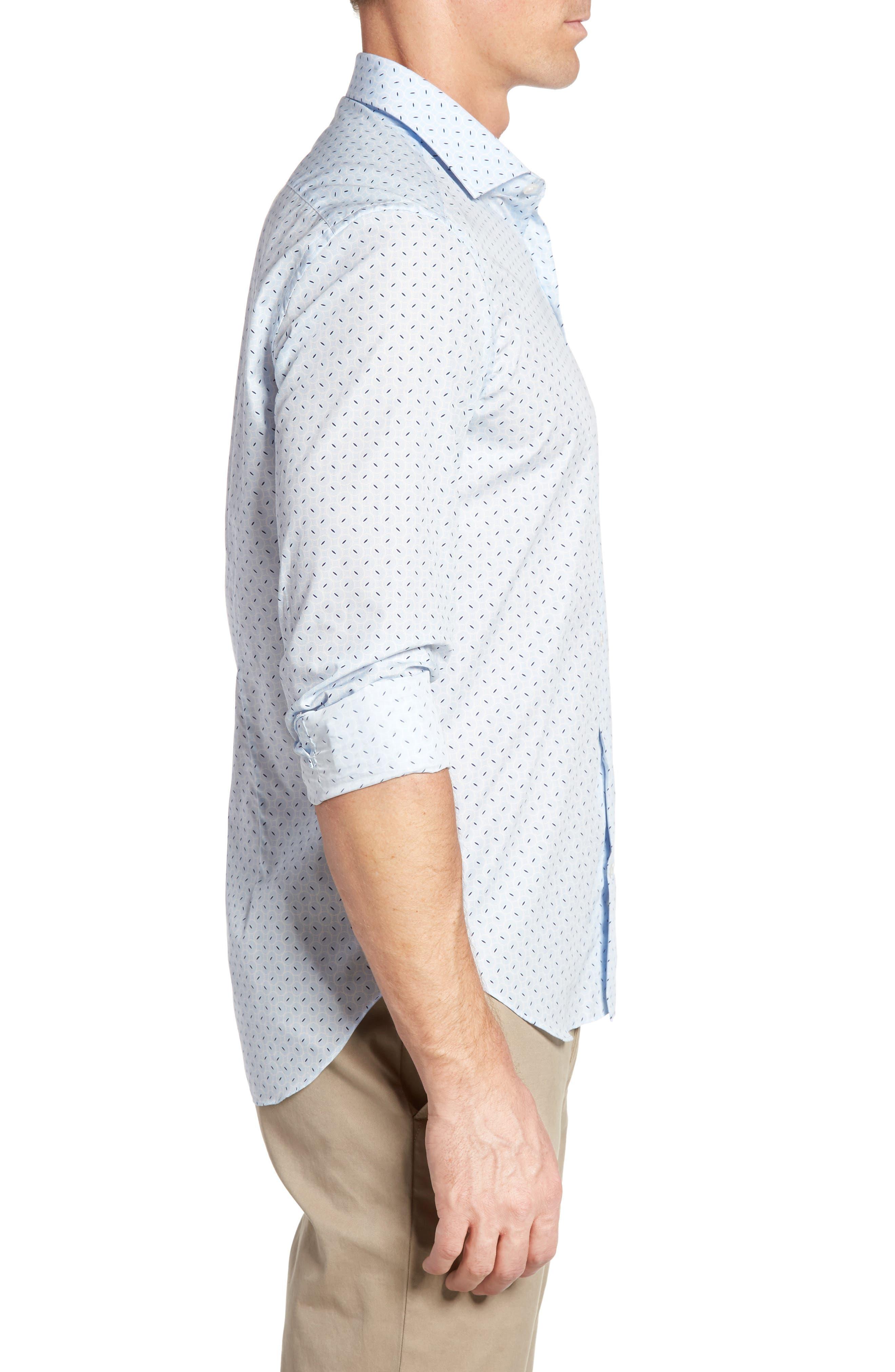 Slim Fit Retro Print Sport Shirt,                             Alternate thumbnail 3, color,                             400