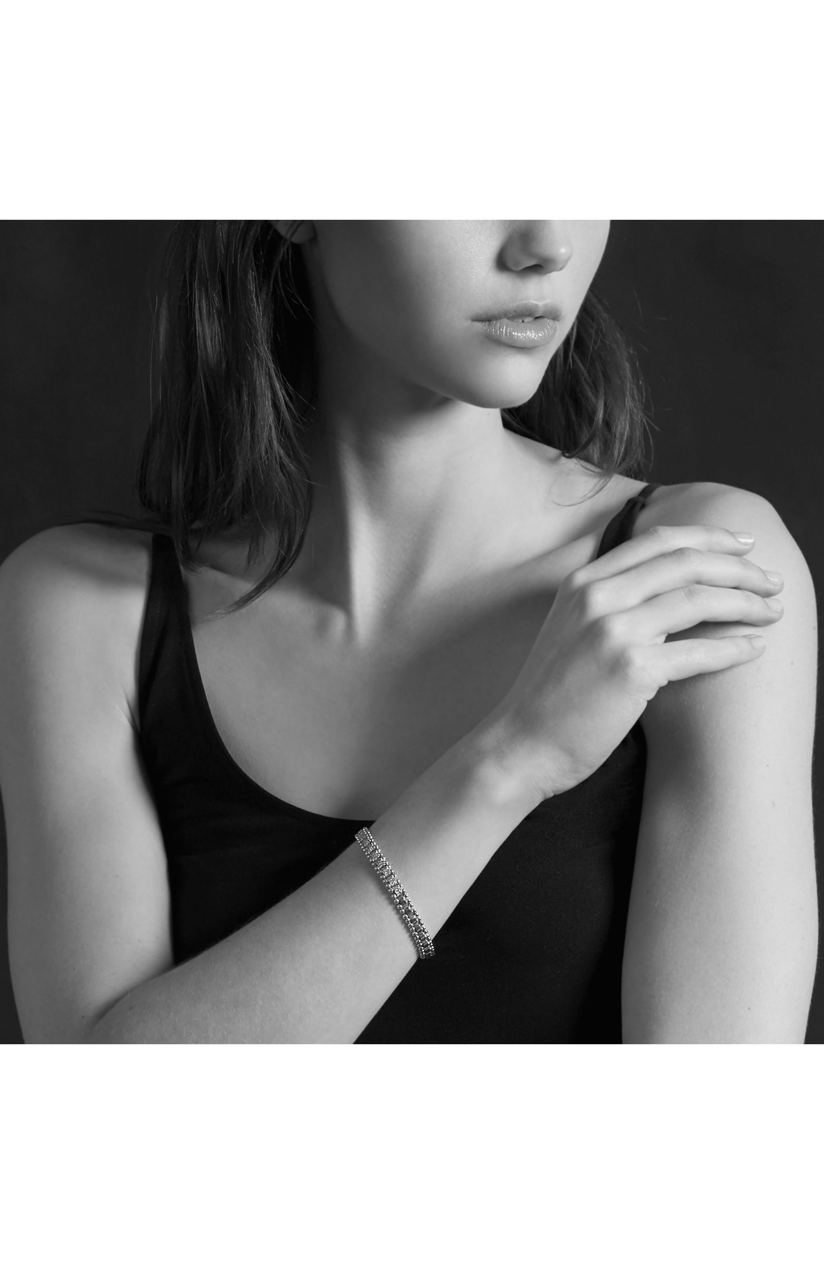 Caviar Spark Diamond Link Bracelet,                             Alternate thumbnail 5, color,                             SILVER/ DIAMOND
