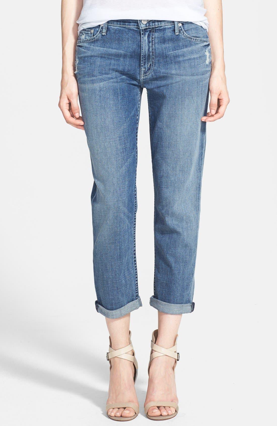 MOTHER 'The Dropout' Crop Boyfriend Jeans, Main, color, 400