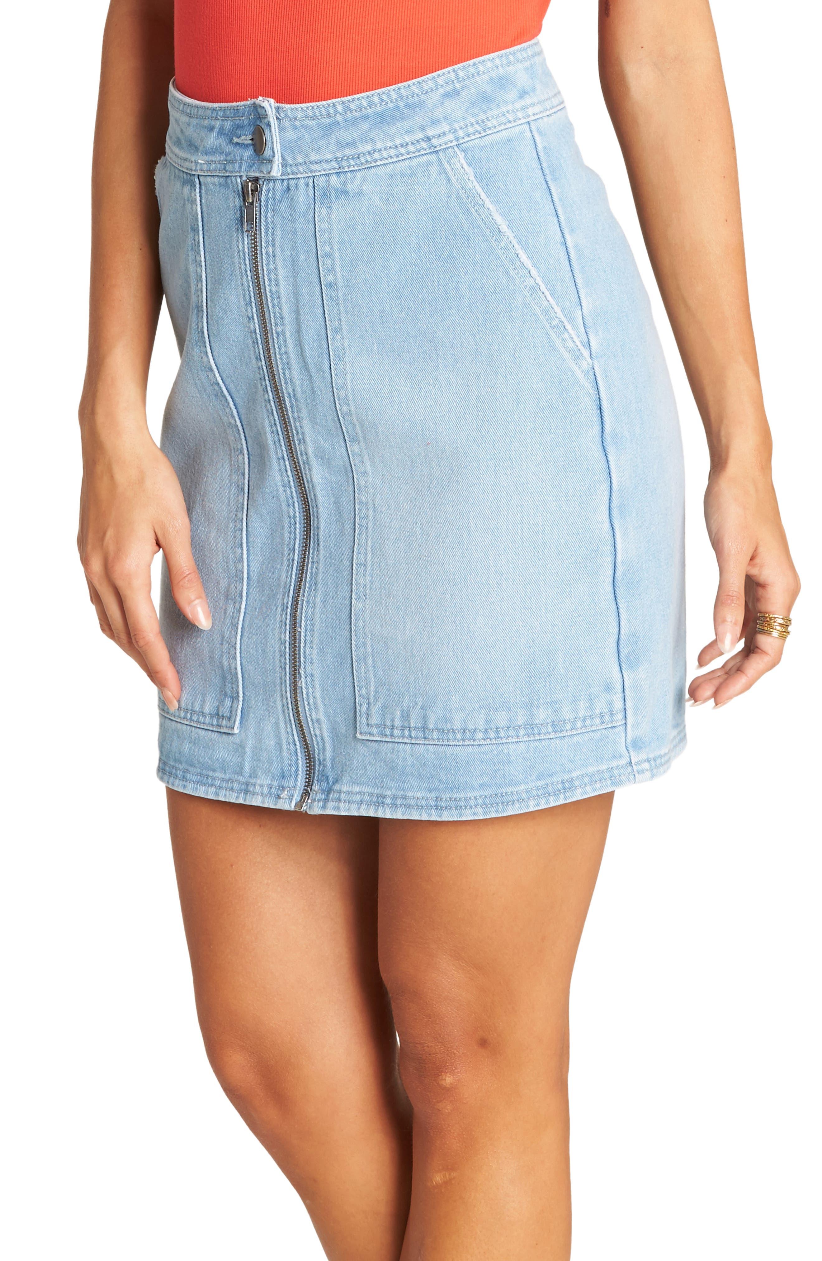 Billabong Ride Right Denim Miniskirt, Blue