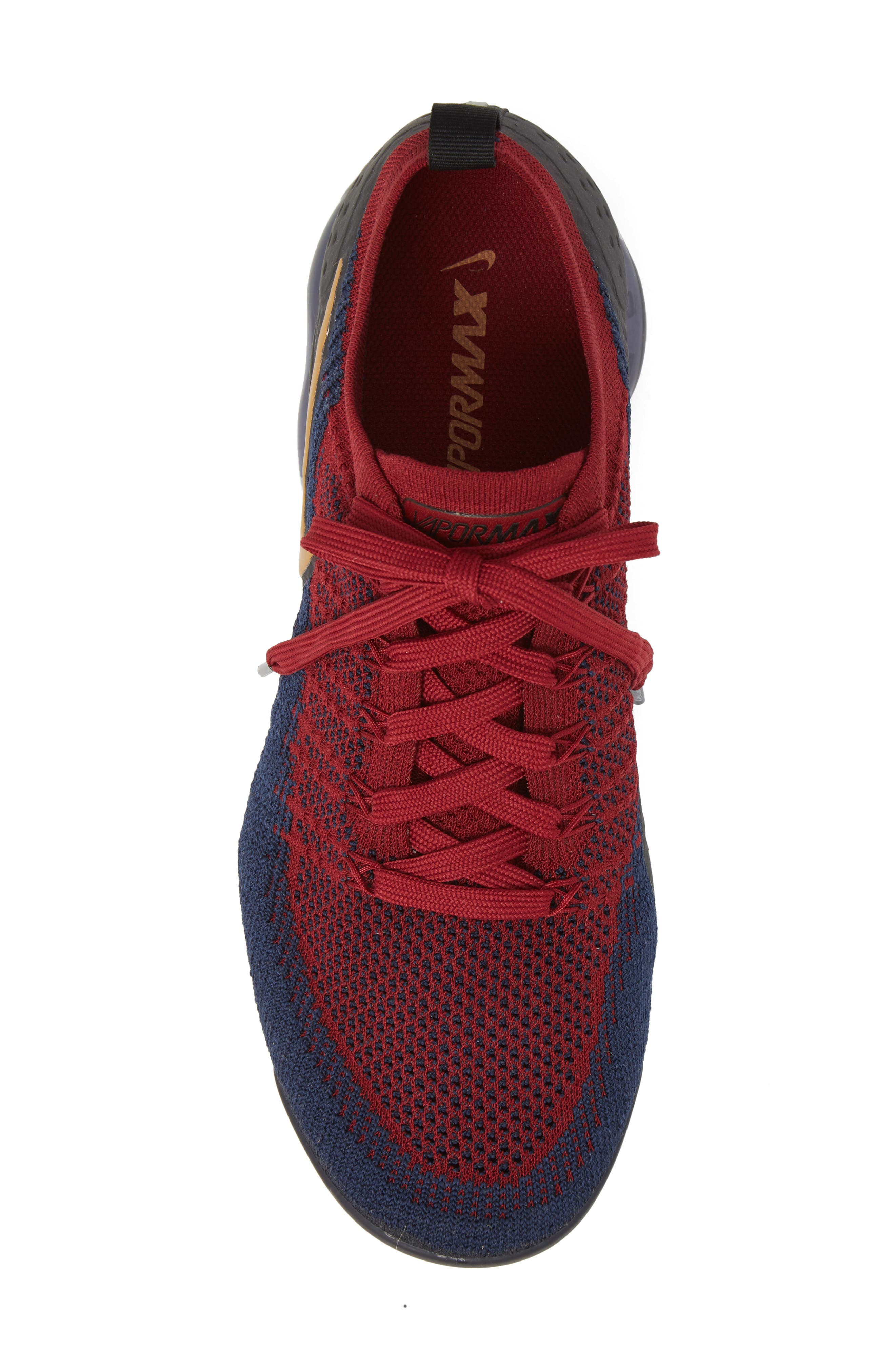 Air Vapormax Flyknit 2 Running Shoe,                             Alternate thumbnail 5, color,                             TEAM RED/ WHEAT/ OBSIDIAN