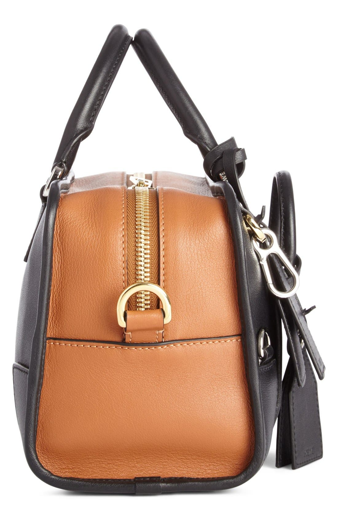 'Amazona Multiplication' Bicolor Leather Satchel,                             Alternate thumbnail 4, color,