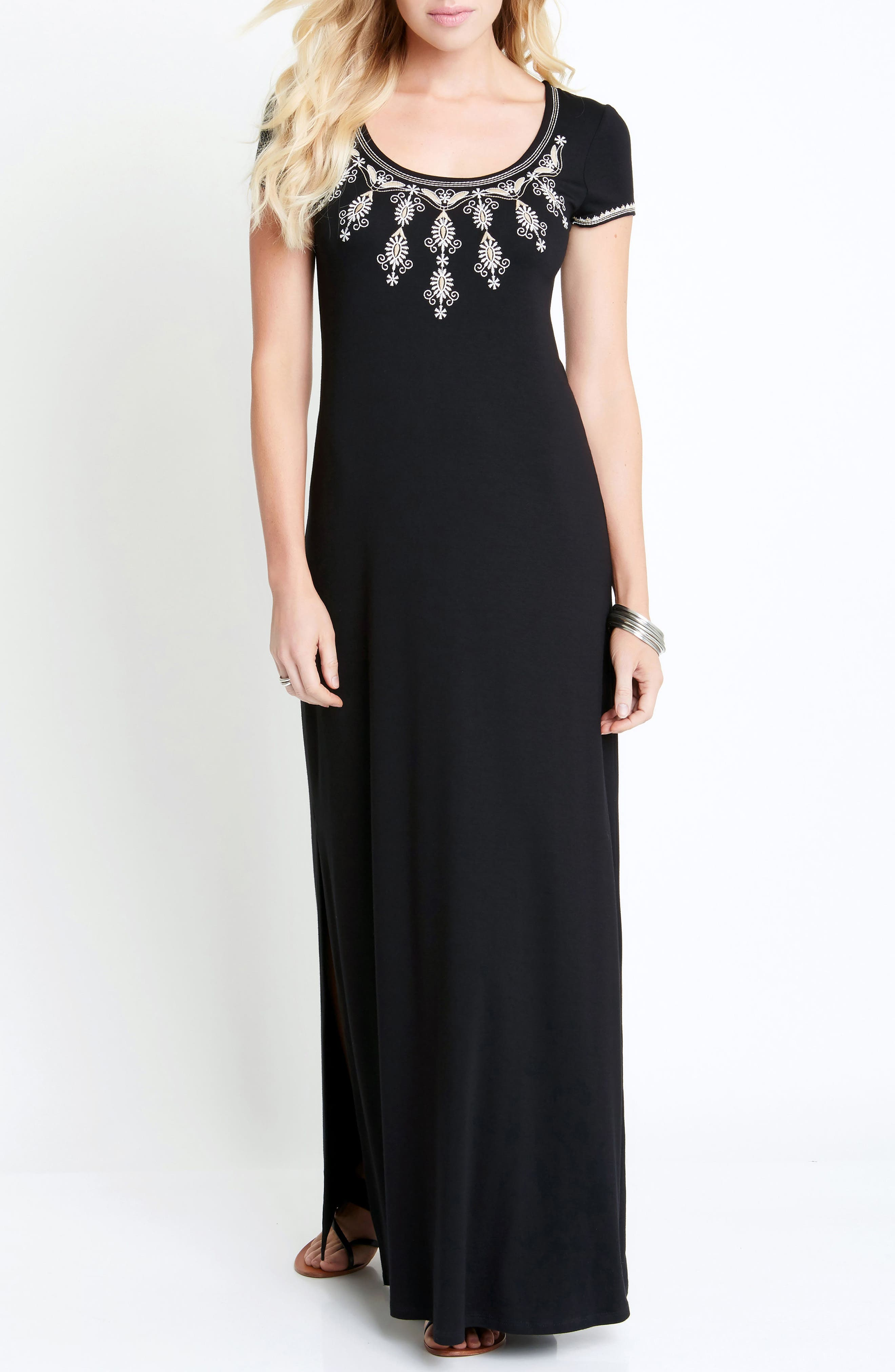 Embroidered Cap Sleeve Maxi Dress,                             Alternate thumbnail 3, color,                             001
