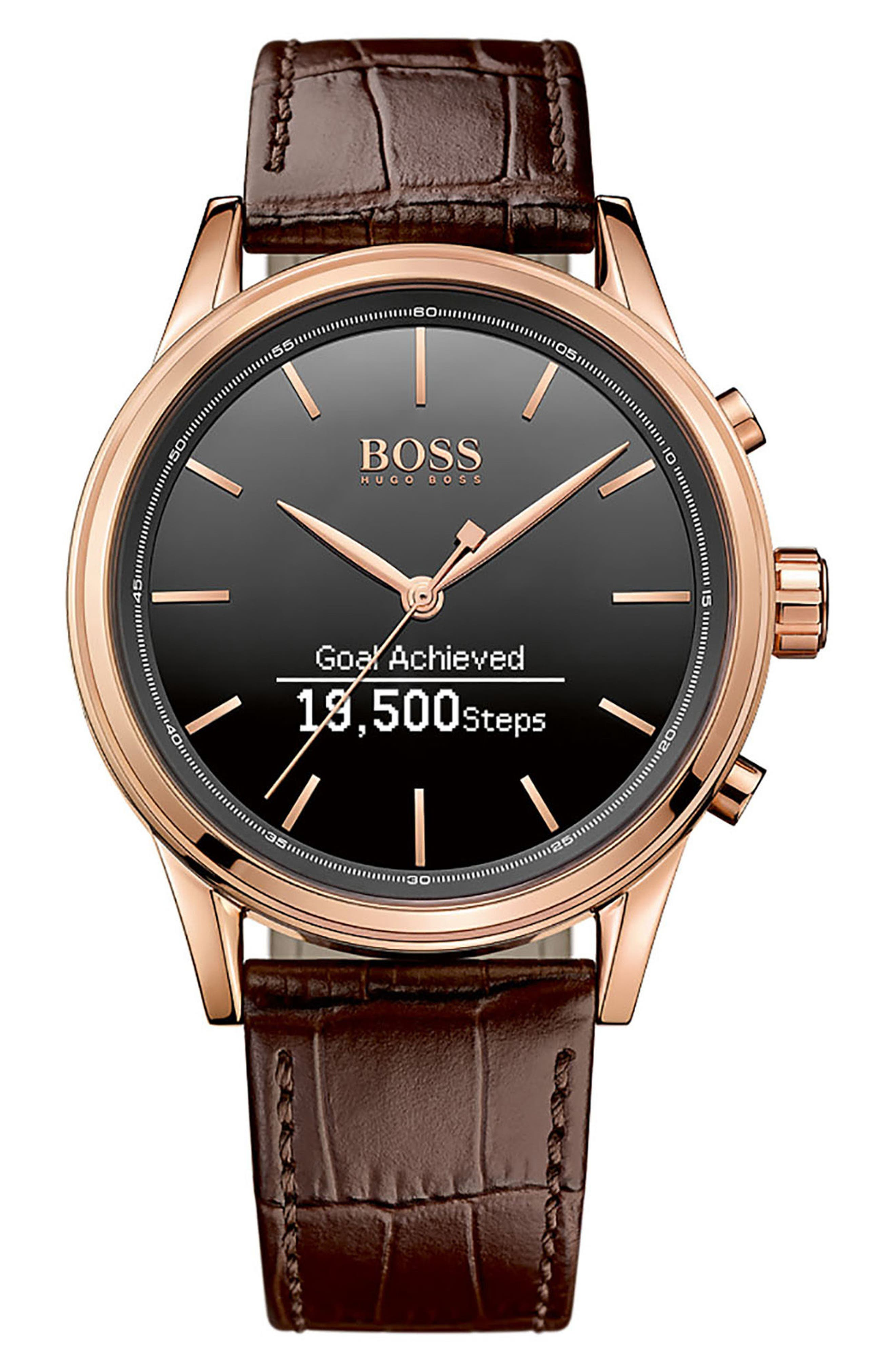 BOSS Classic Leather Strap Smart Watch, 44mm,                             Alternate thumbnail 2, color,