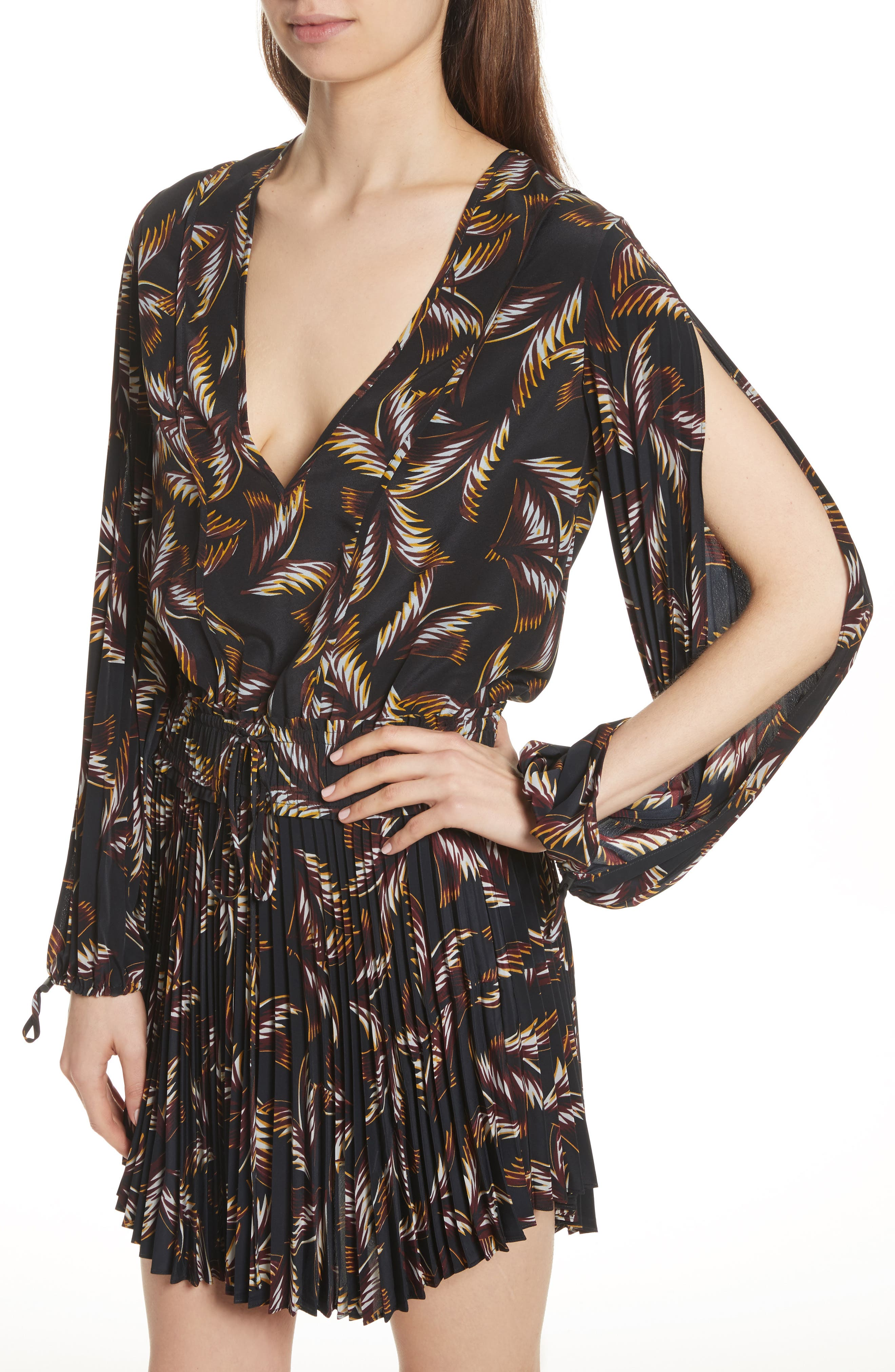 Rory Pleated Silk Dress,                             Alternate thumbnail 4, color,                             002