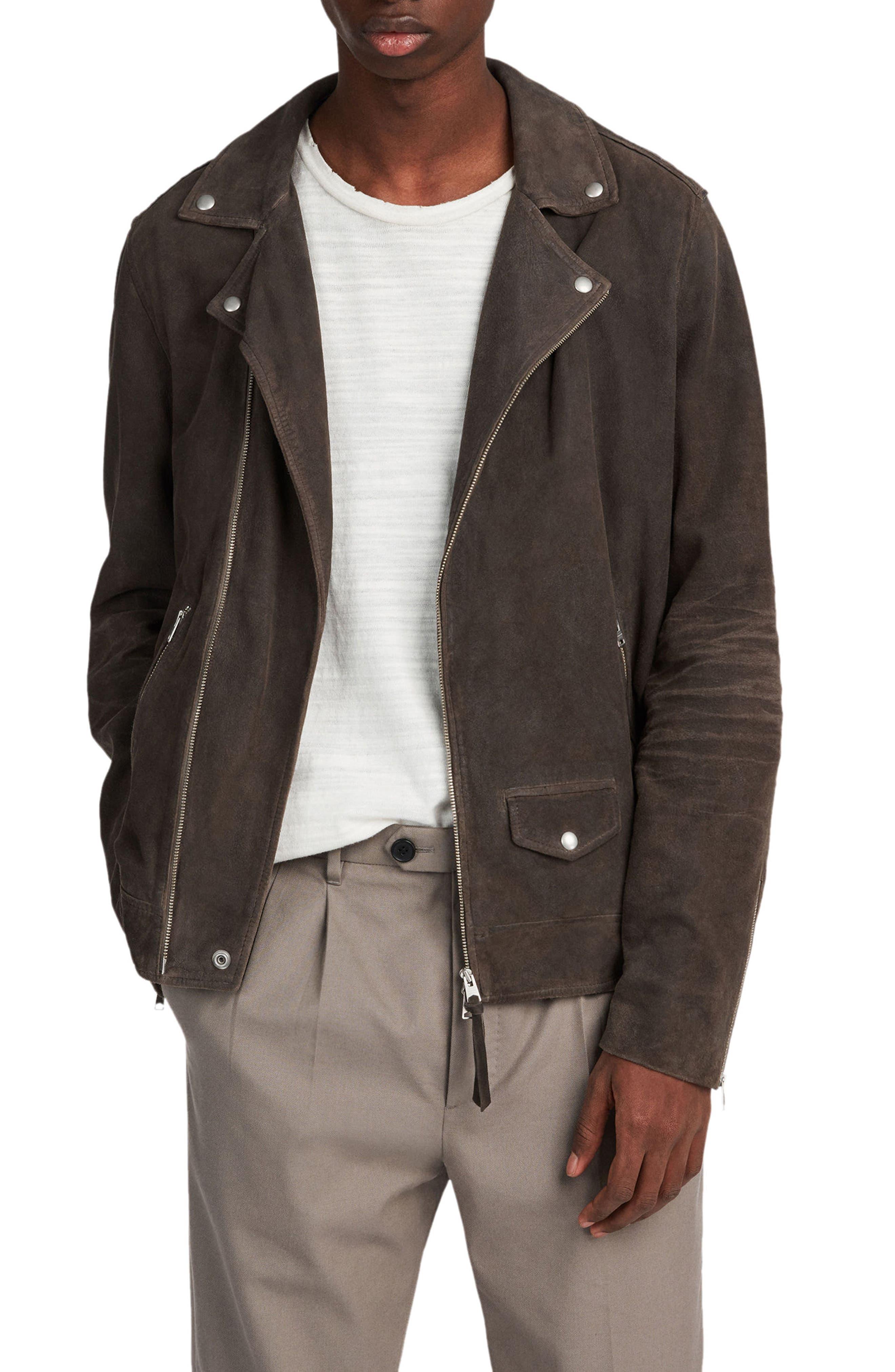 Allsaints Kano Suede Moto Jacket, Grey
