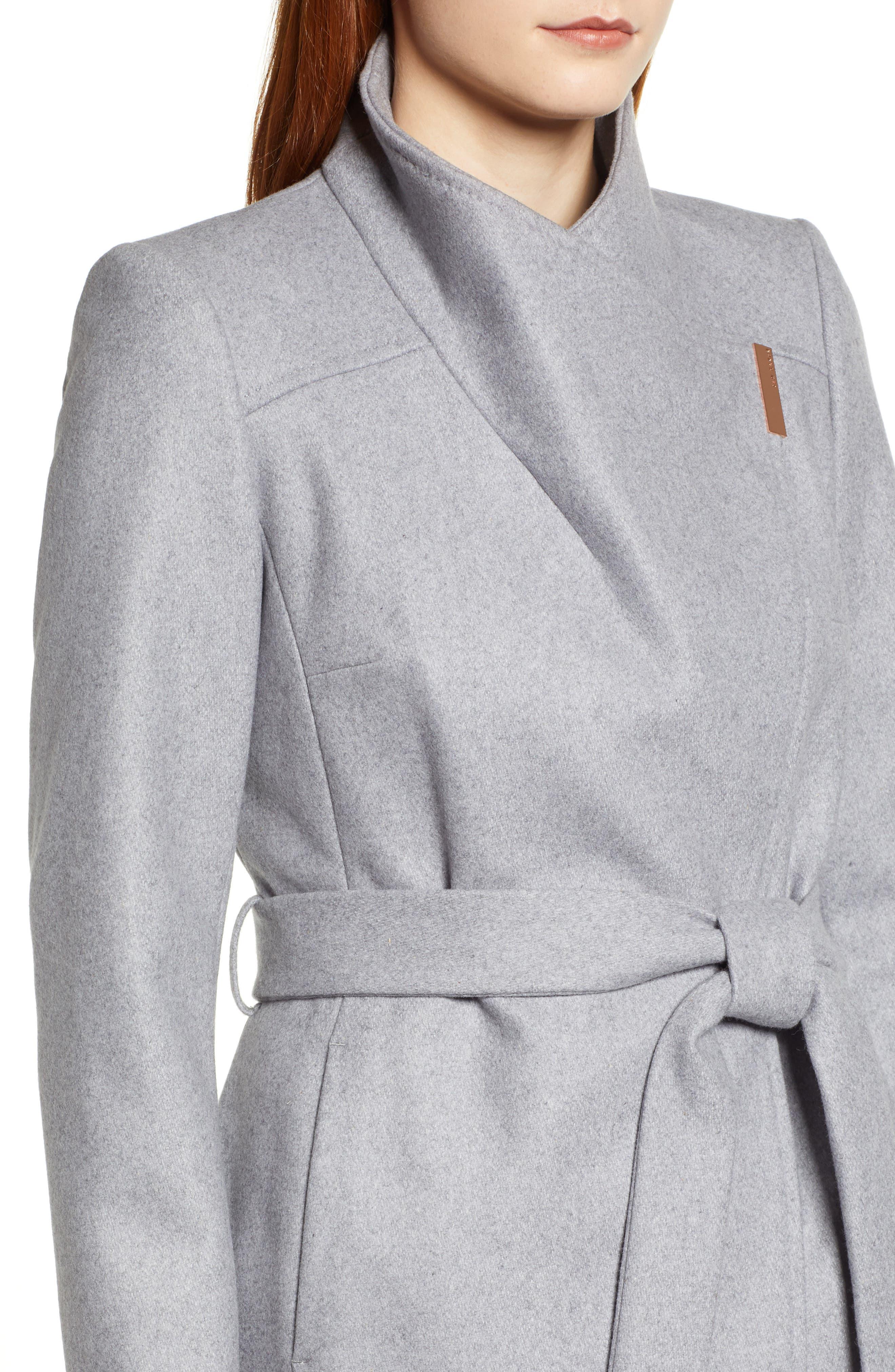 Ted Baker Londer Midi Wool Wrap Coat,                             Alternate thumbnail 4, color,                             GREY