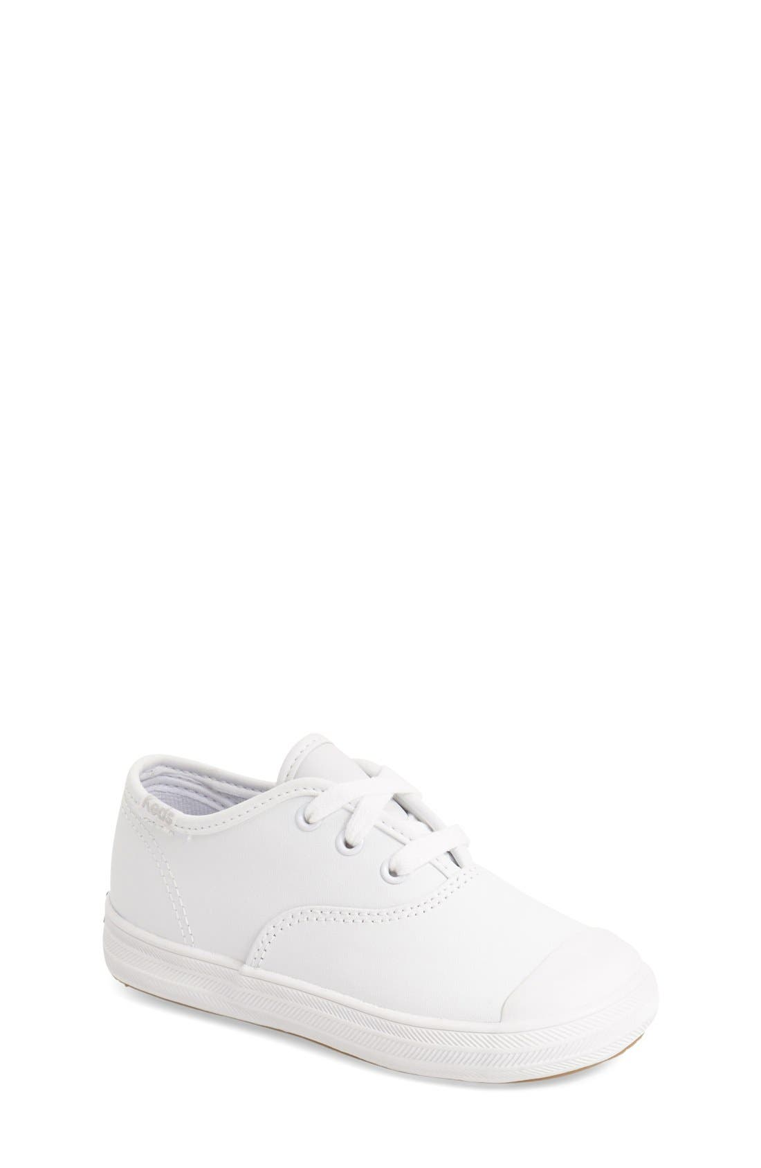 'Champion' Sneaker,                             Main thumbnail 1, color,                             WHITE LEATHER