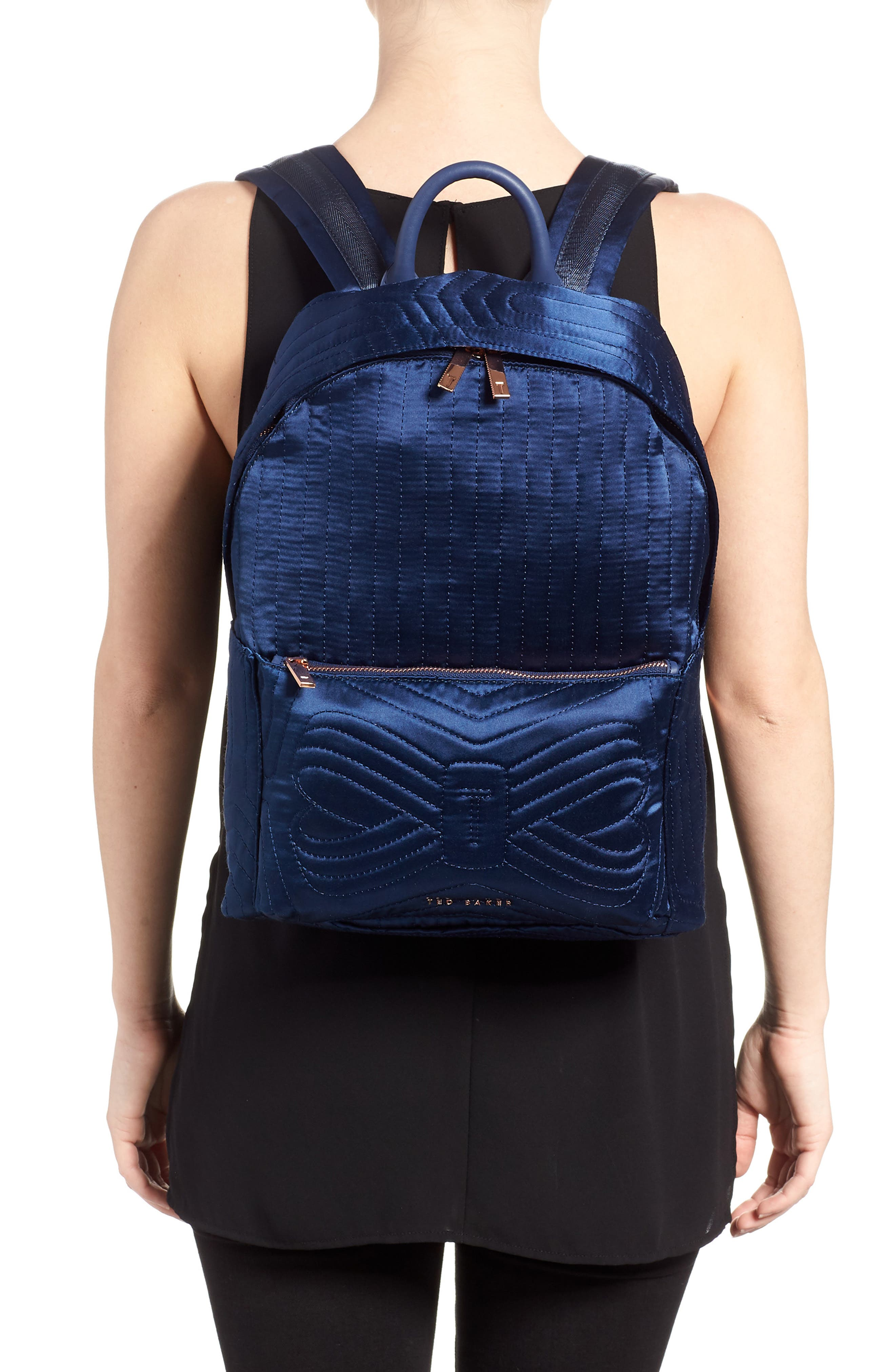 Akija Quilted Bow Backpack,                             Alternate thumbnail 4, color,