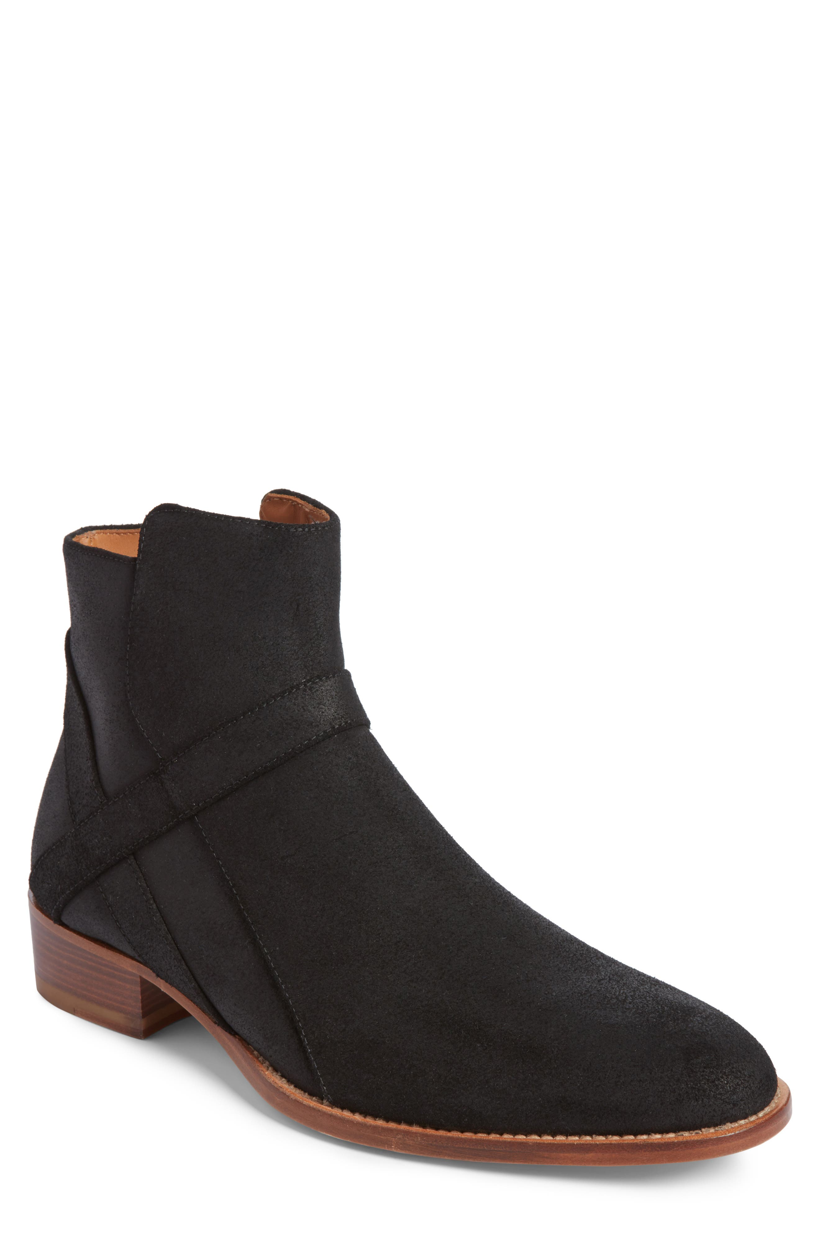 Bowie Zip Boot,                         Main,                         color, BLACK SUEDE
