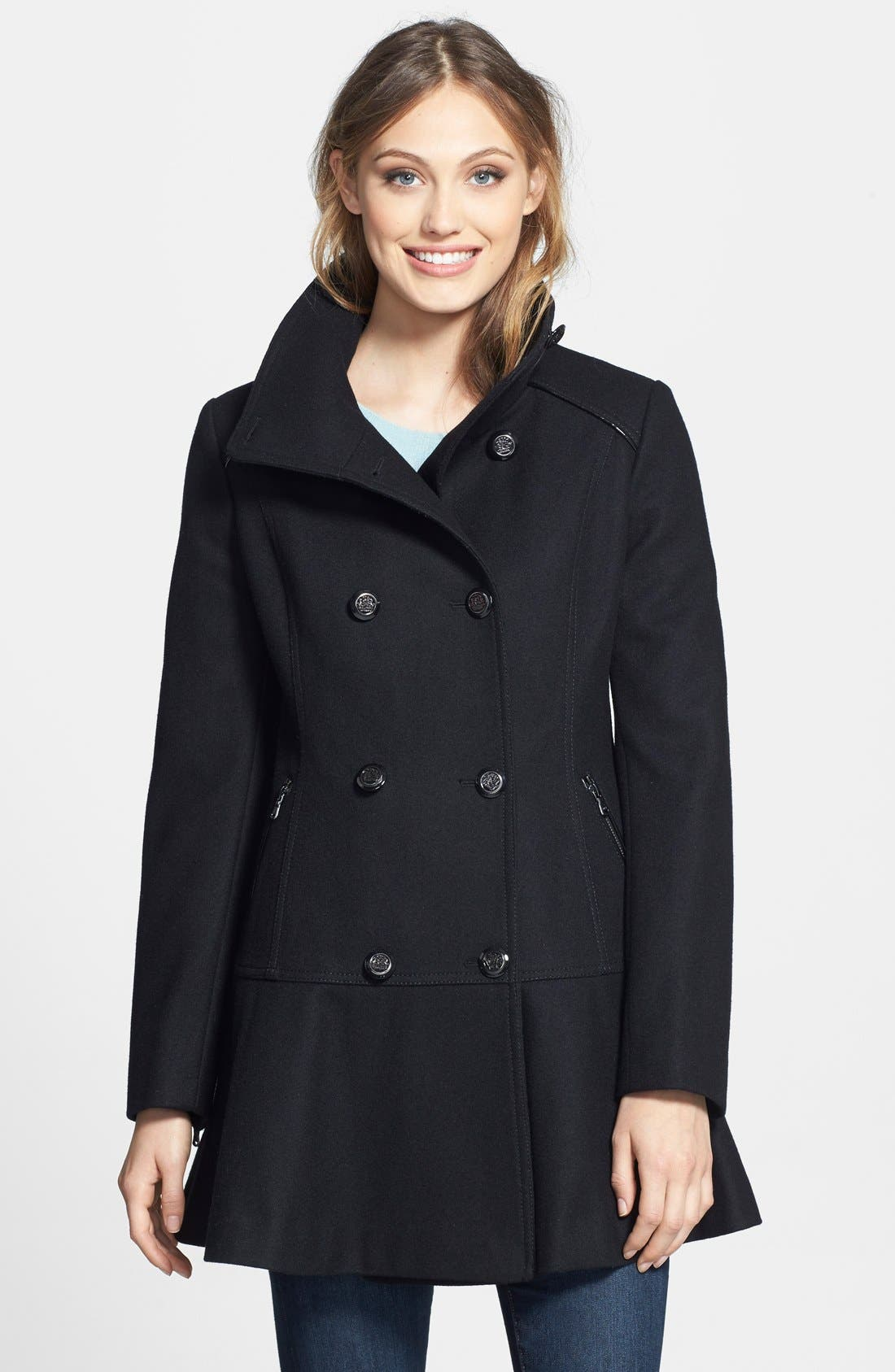Skirted Wool Blend Coat,                             Main thumbnail 1, color,                             001