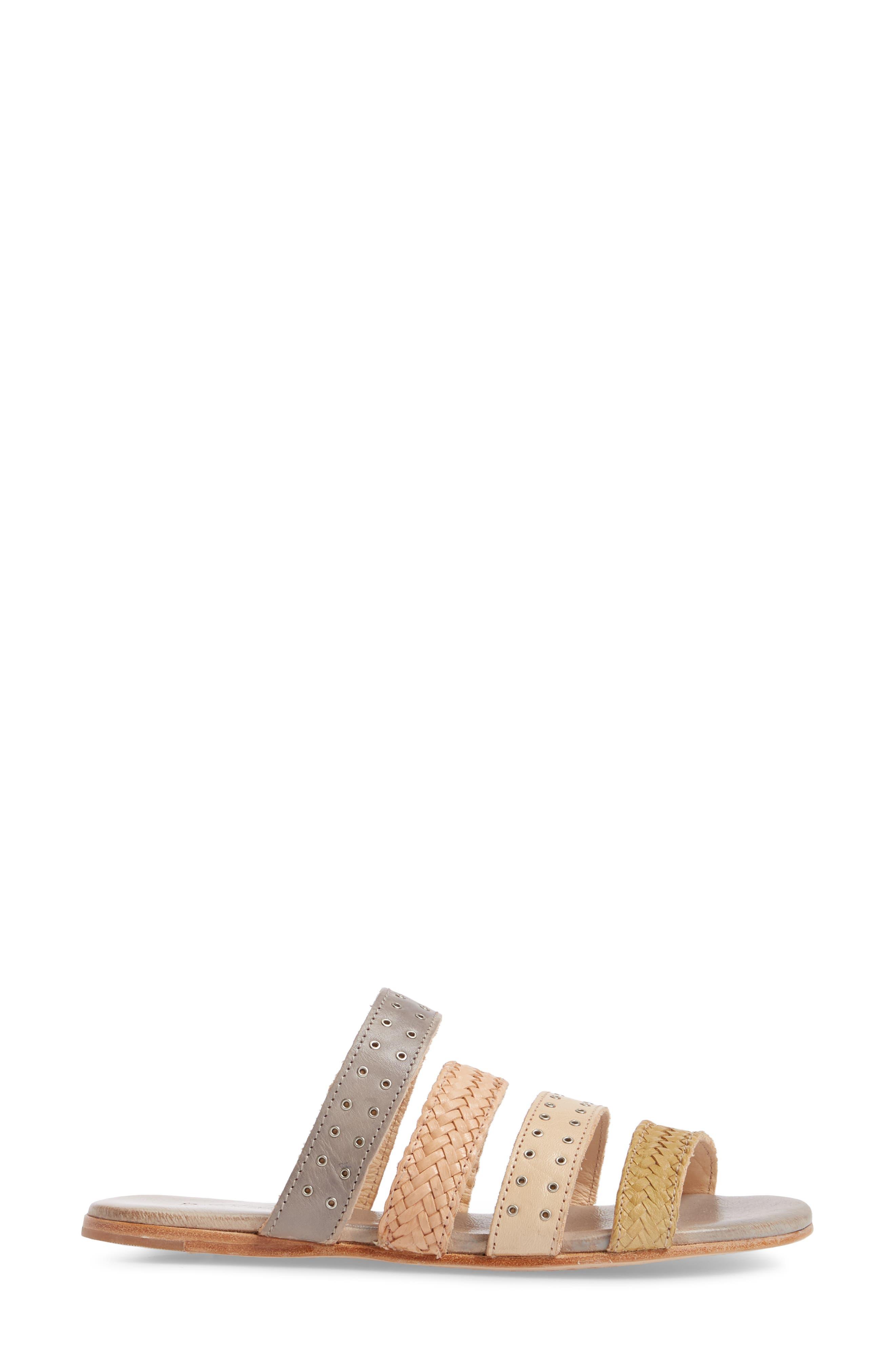 Henna Slide Sandal,                             Alternate thumbnail 3, color,                             CASHEW/ LIGHT GREY LEATHER