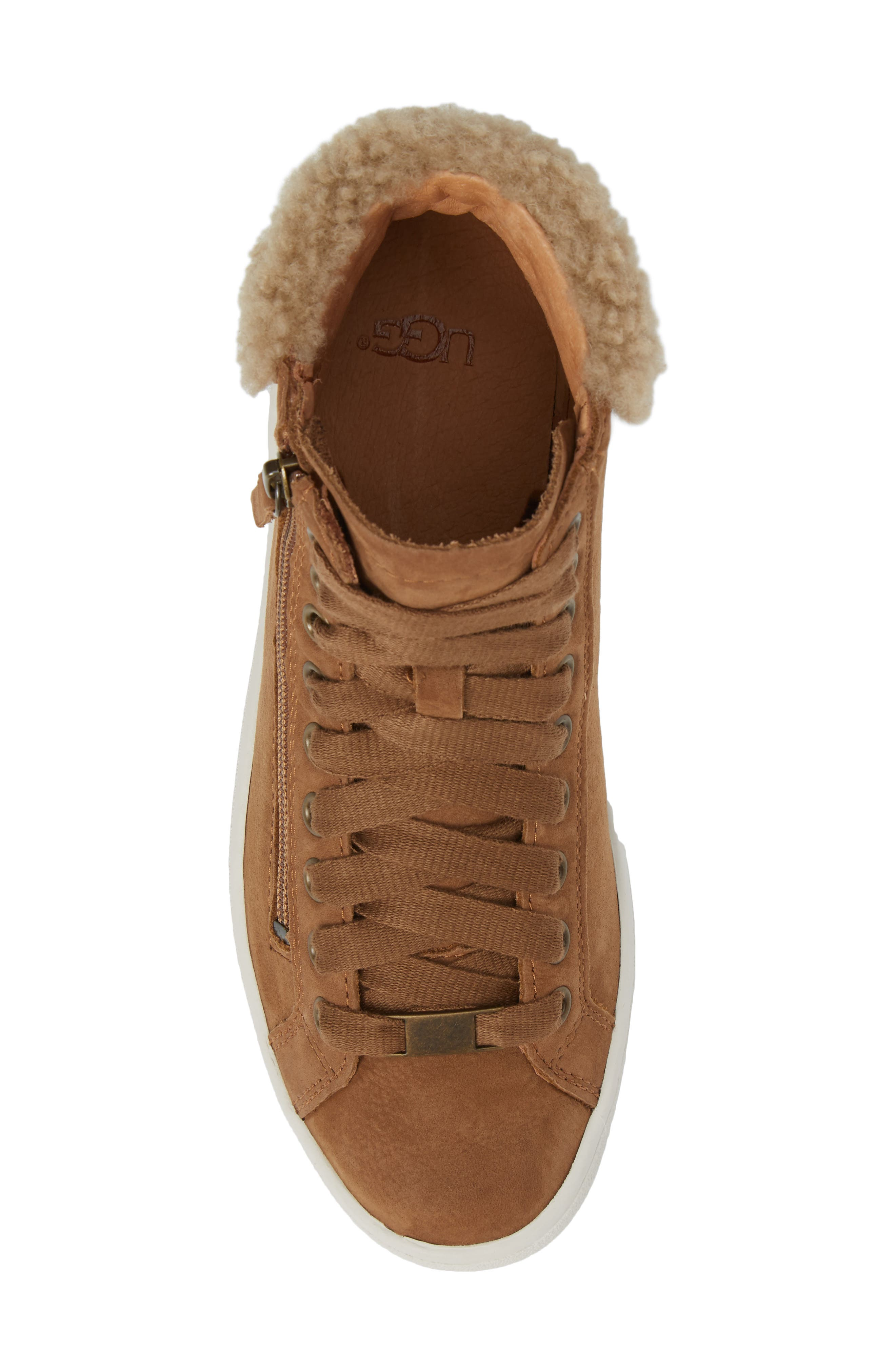 Olive Genuine Shearling Cuff Sneaker,                             Alternate thumbnail 5, color,                             219