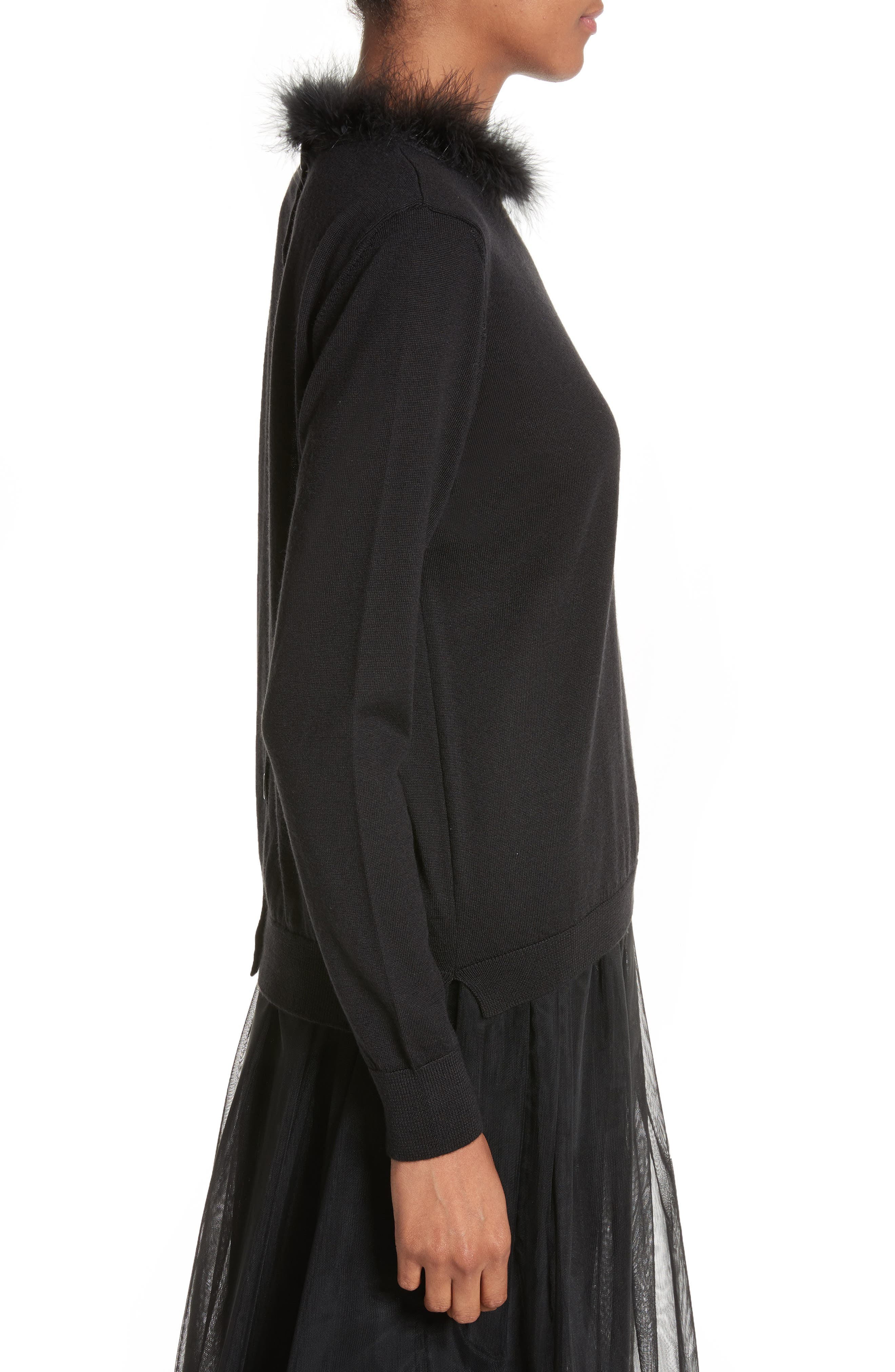 Teddy Open Back Sweater with Feather Trim,                             Alternate thumbnail 3, color,                             001
