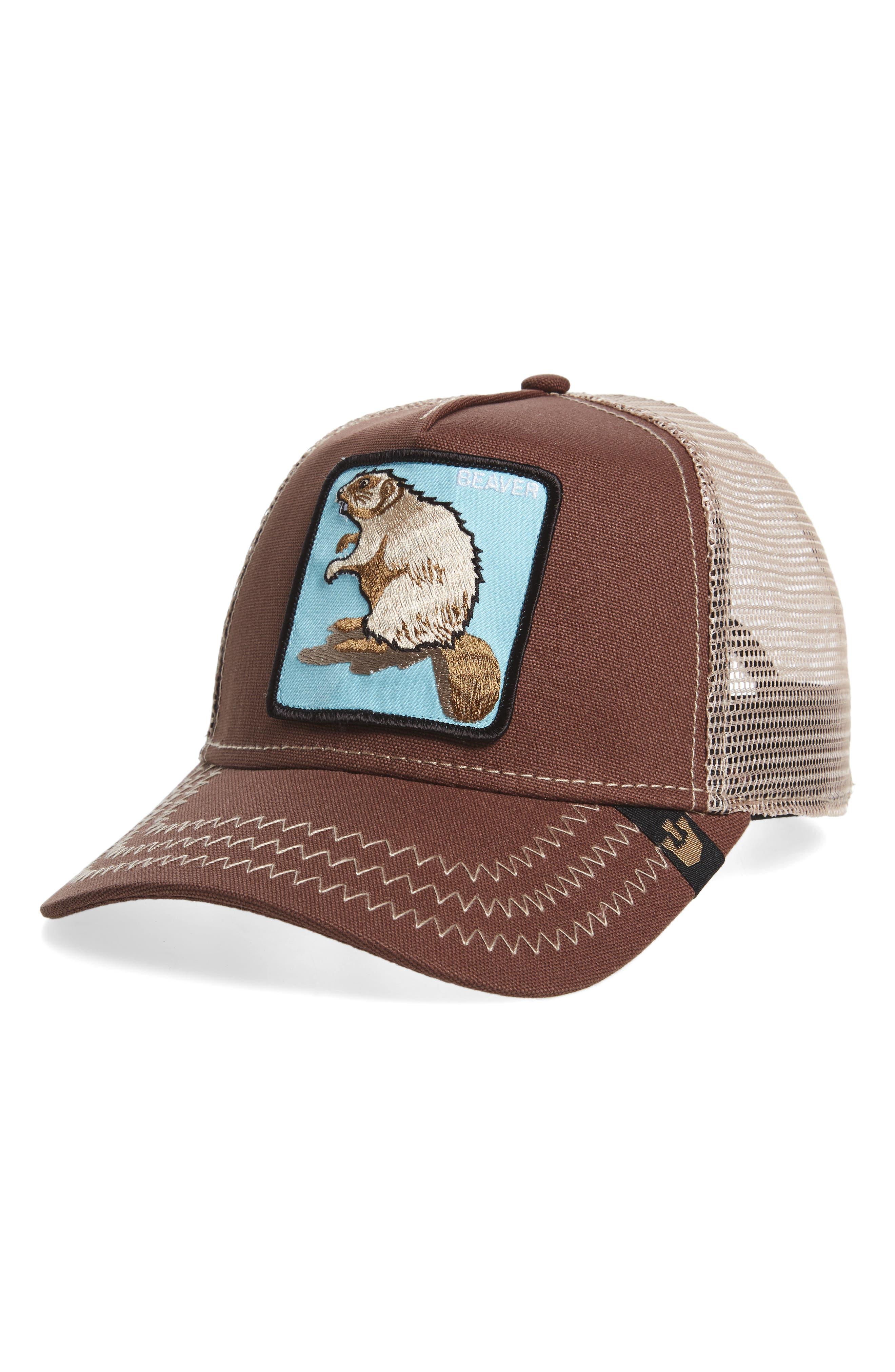 Animal Farm Beaver Mesh Trucker Hat,                             Main thumbnail 1, color,                             BROWN