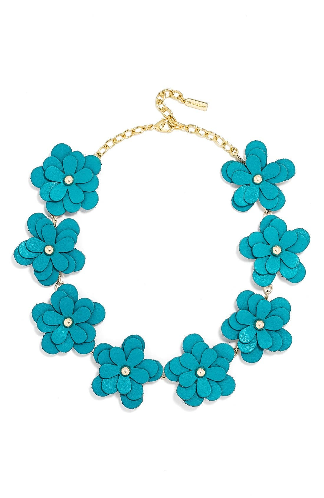 'Zoe' Leather Flower Collar Necklace,                         Main,                         color, 400