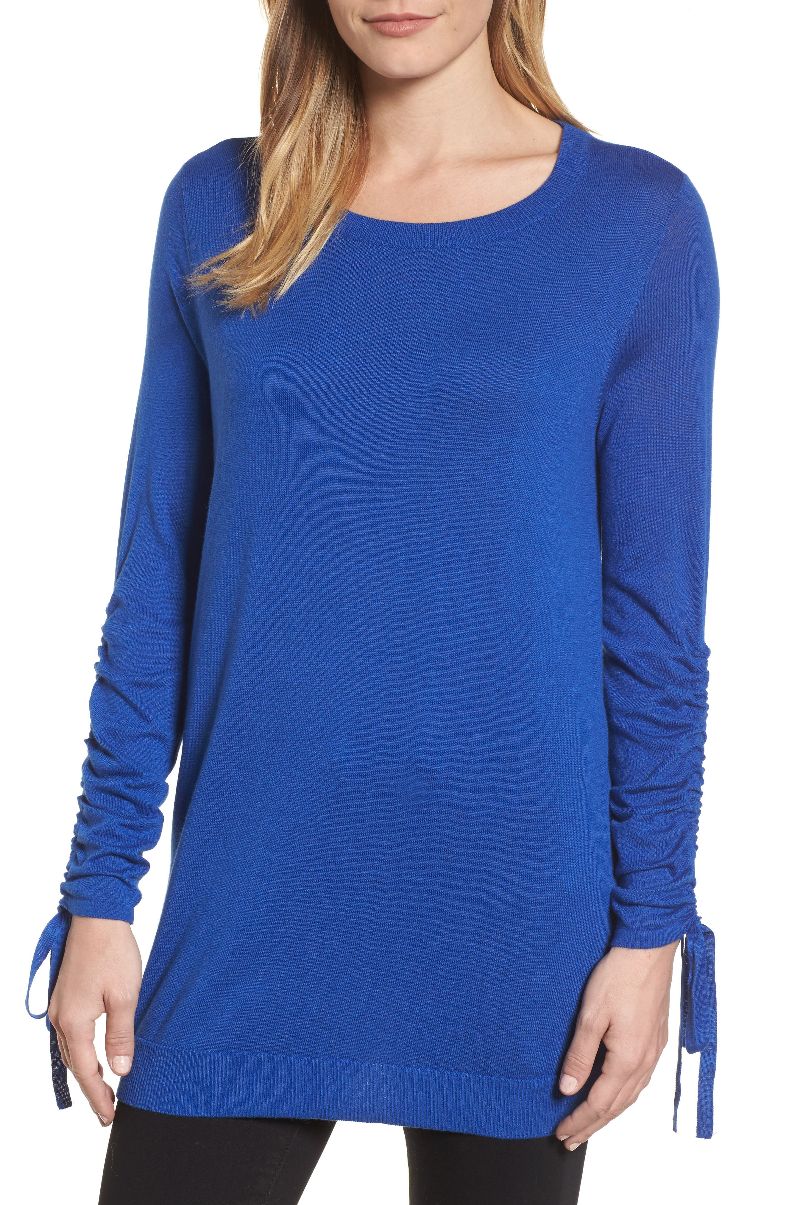 Ruched Sleeve Tunic Sweater,                             Main thumbnail 3, color,