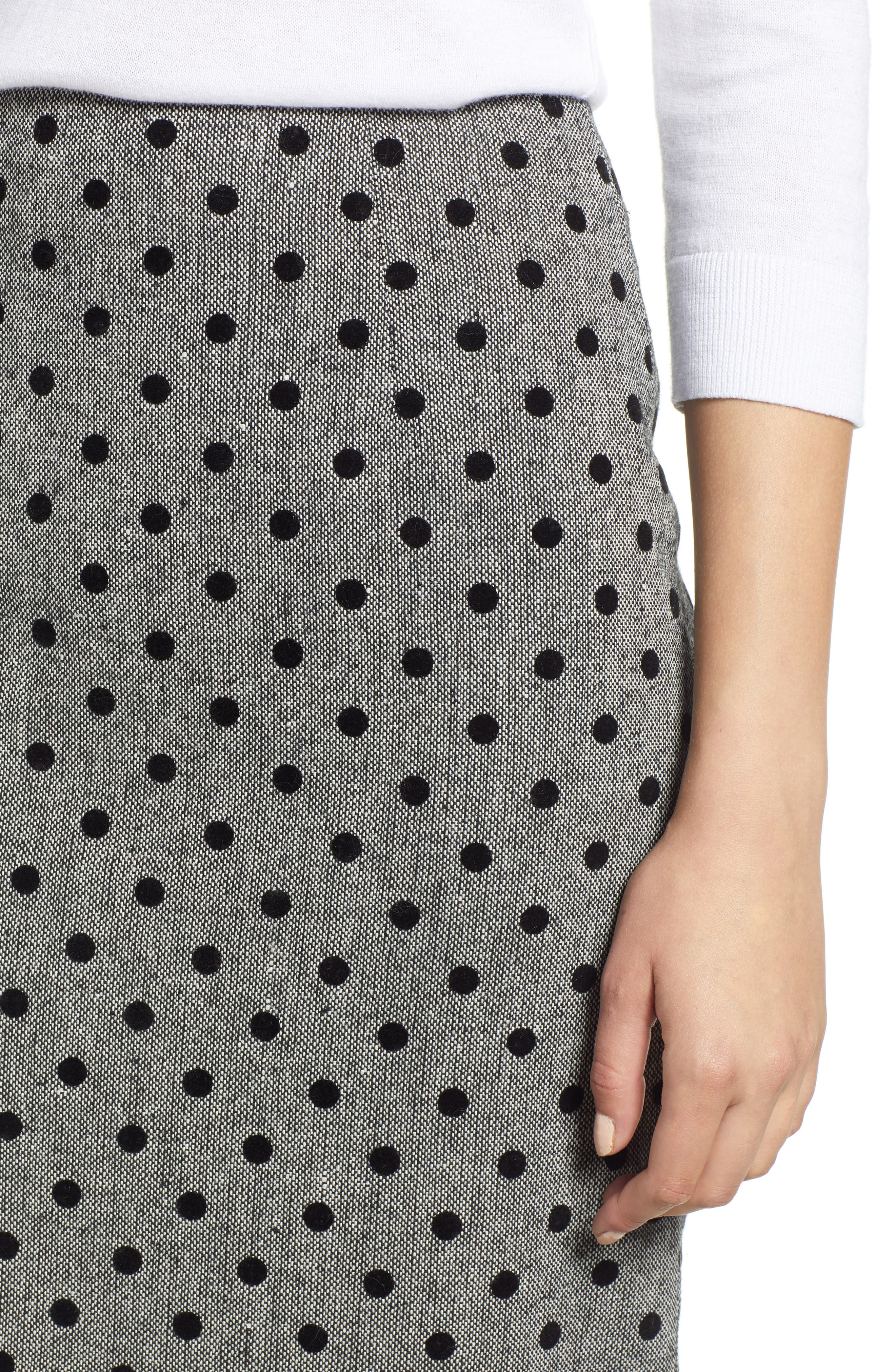 Dot Pencil Skirt,                             Alternate thumbnail 4, color,                             GREY- BLACK DOT
