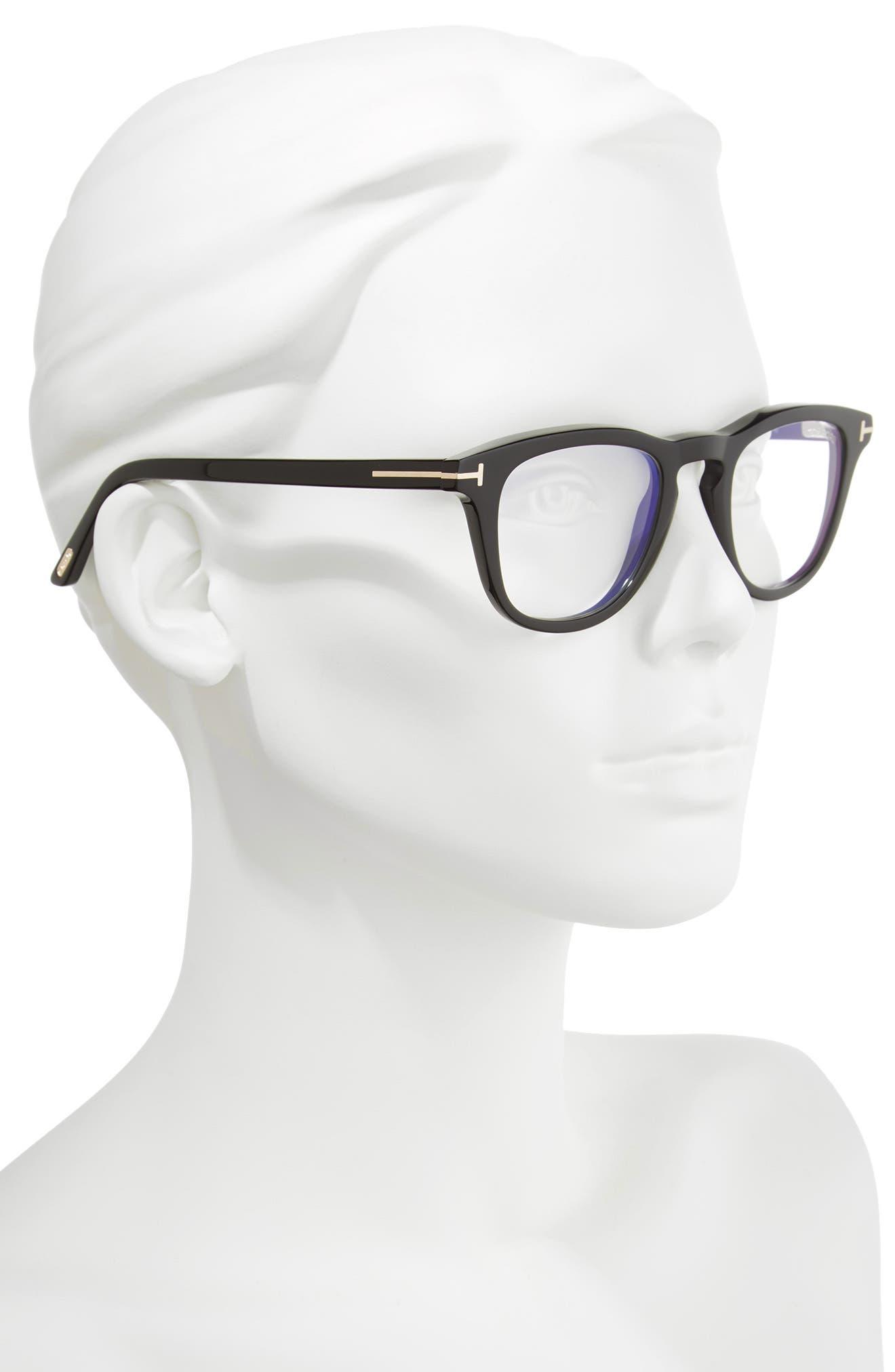 49mm Blue Block Optical Glasses,                             Alternate thumbnail 2, color,                             SHINY BLACK/ BLUE