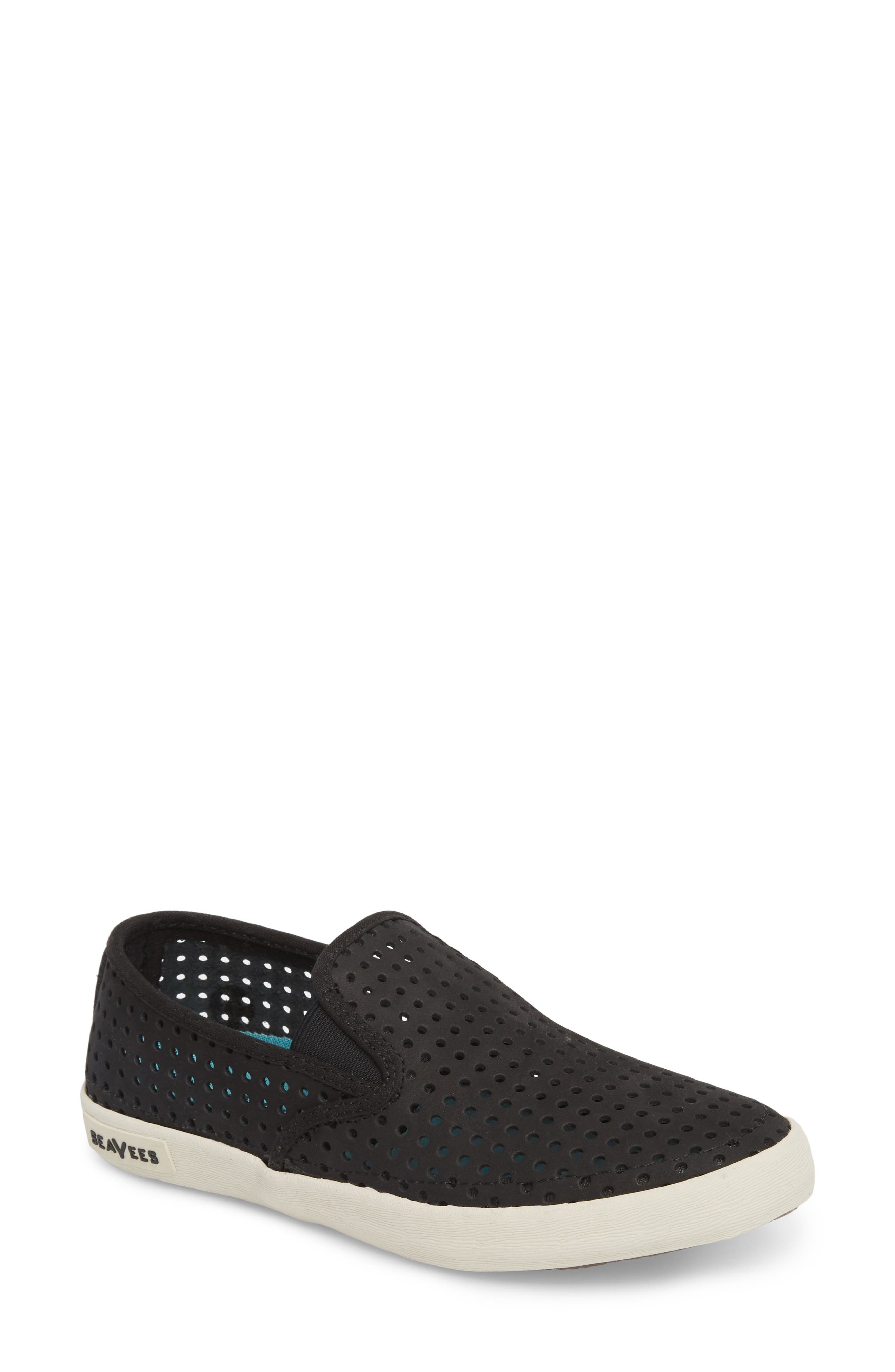 Baja Perforated Slip-On Sneaker,                             Main thumbnail 1, color,                             BLACK