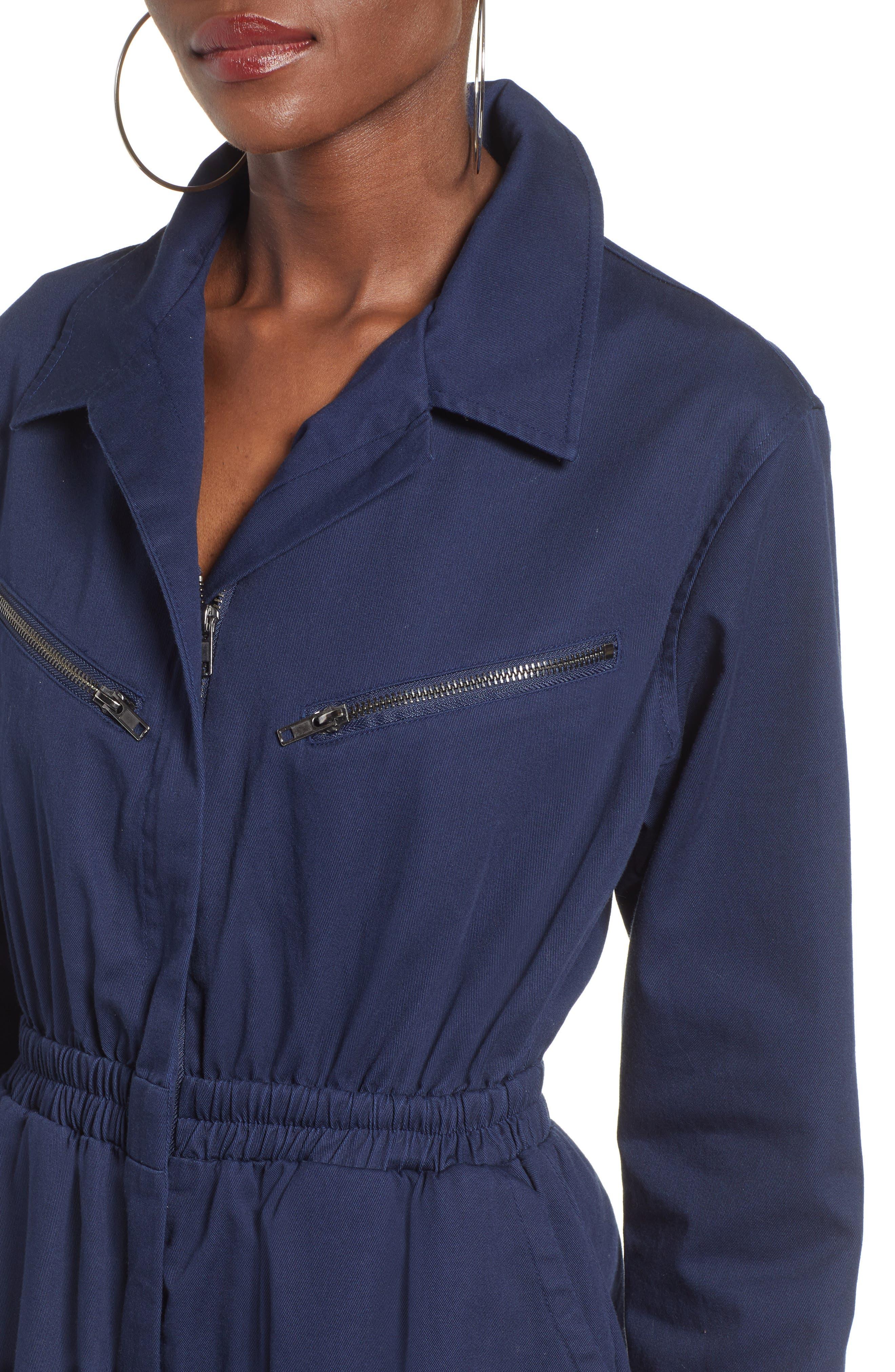 TEN SIXTY SHERMAN,                             Twill Workwear Jumpsuit,                             Alternate thumbnail 4, color,                             OXFORD BLUE