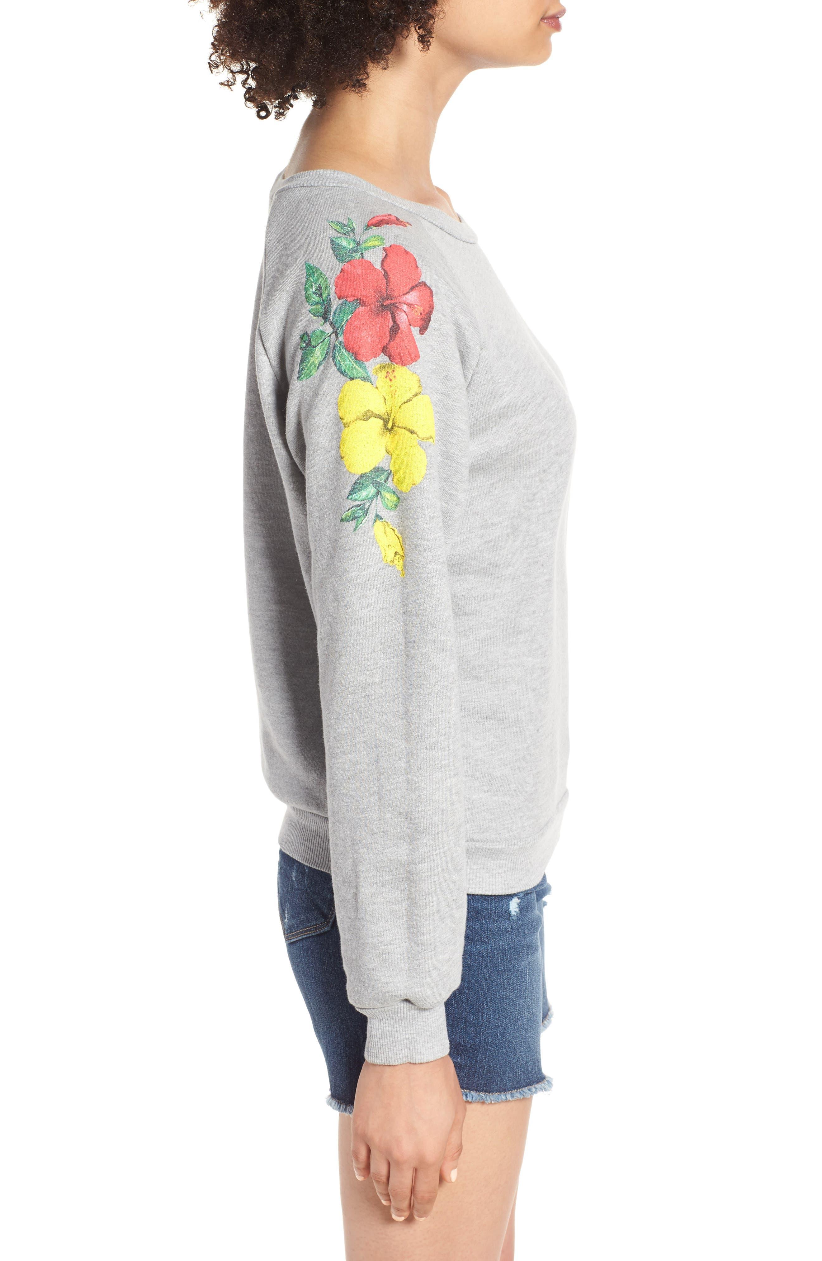 Hibiscus Junior Sweatshirt,                             Alternate thumbnail 3, color,                             020