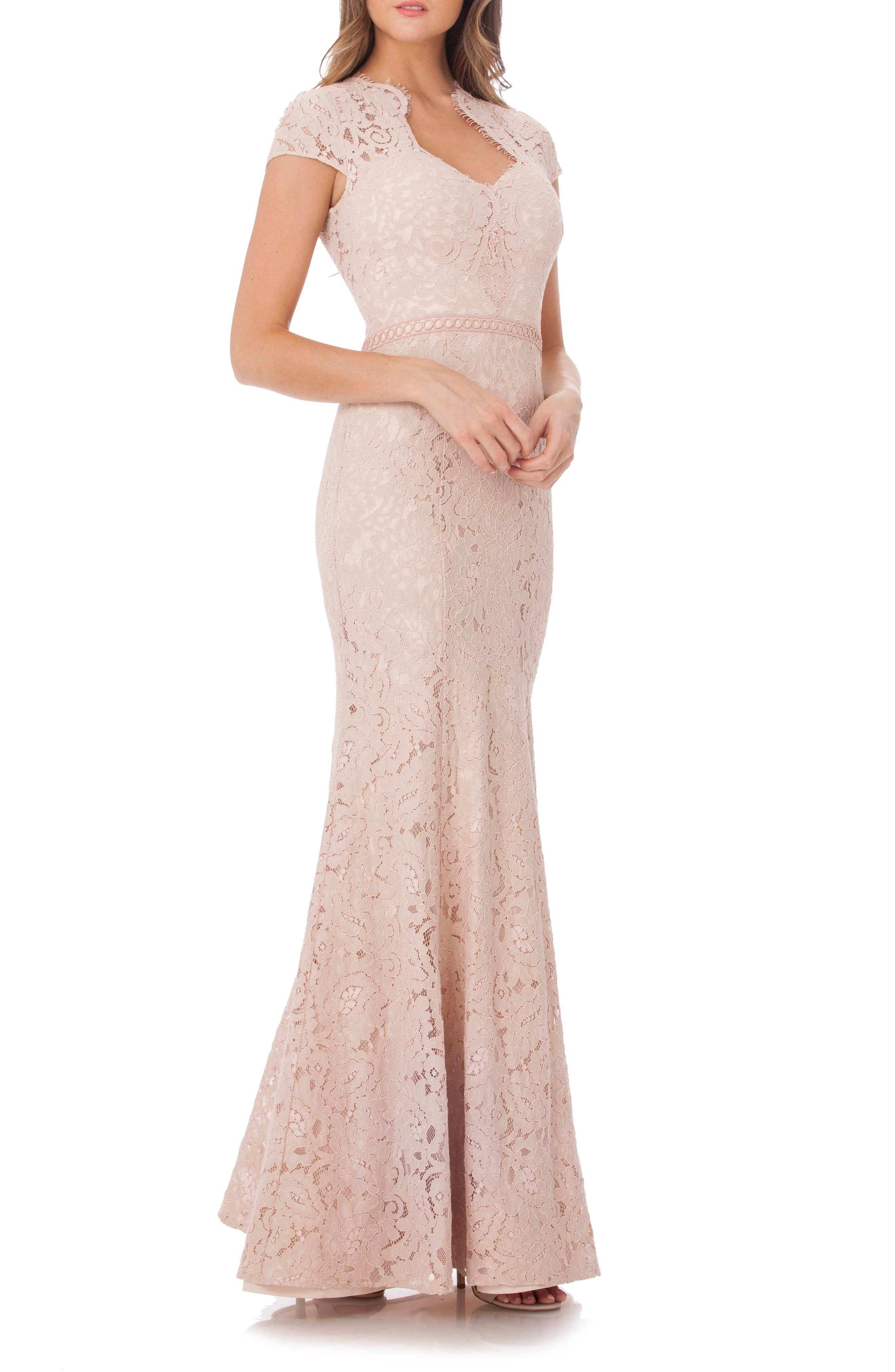 Js Collections Lace Mermaid Gown, Pink