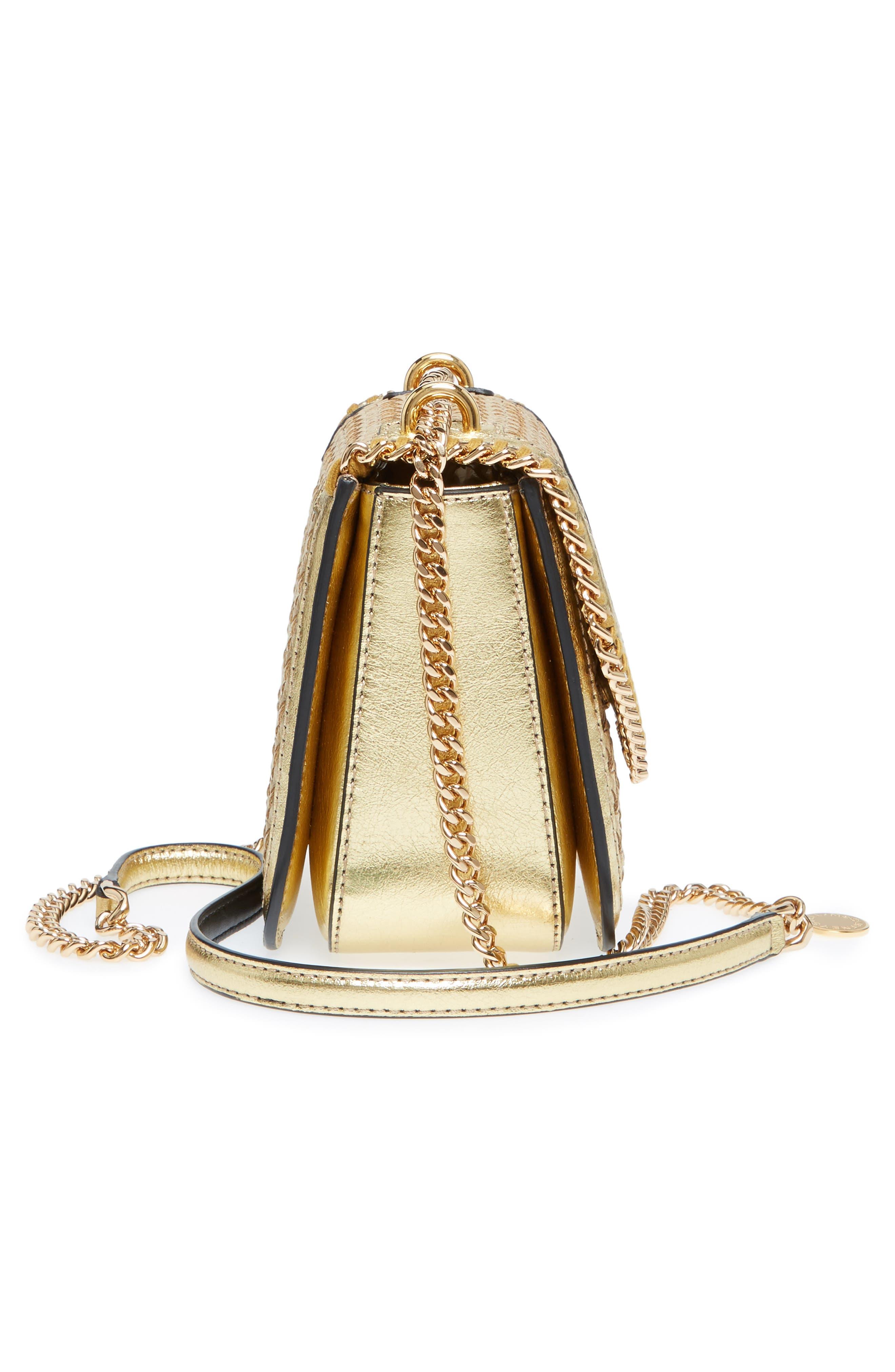 Falabella Box Woven Metallic Faux Leather Shoulder Bag,                             Alternate thumbnail 5, color,