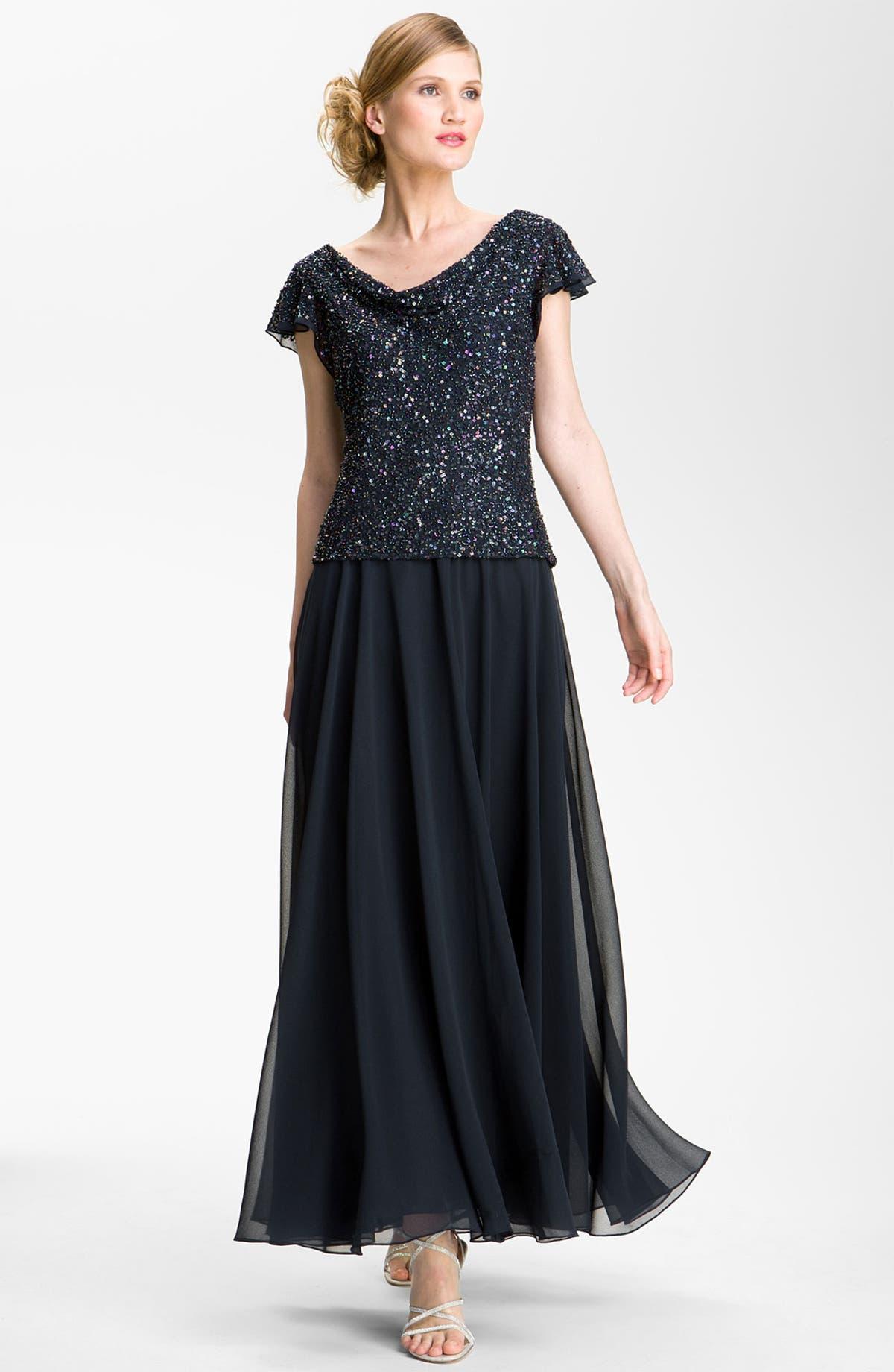 J Kara Sequin Flutter Sleeve Chiffon Gown | Nordstrom