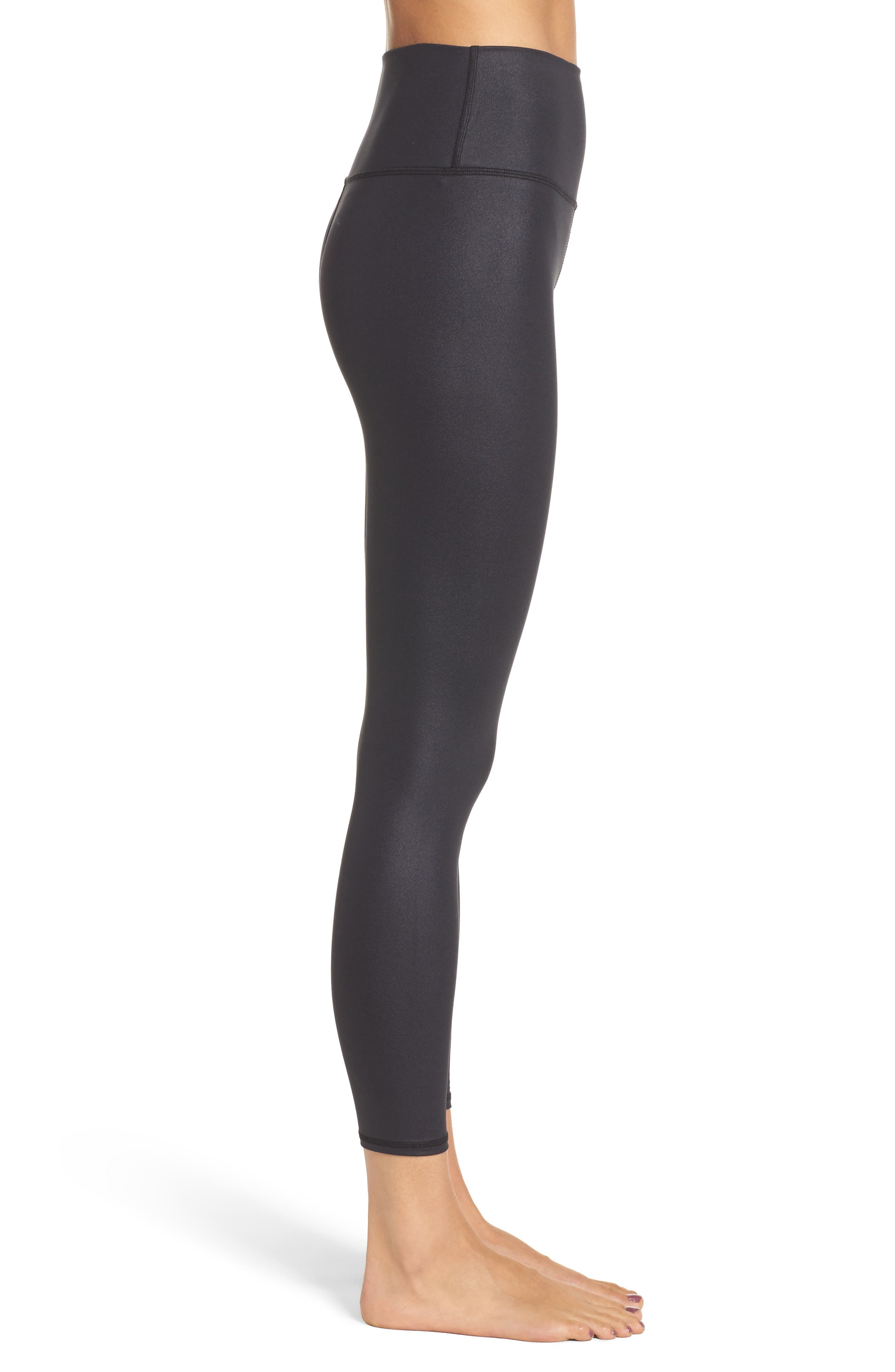 High Waist Airbrush Midi Leggings,                             Alternate thumbnail 3, color,                             BLACK GLOSSY