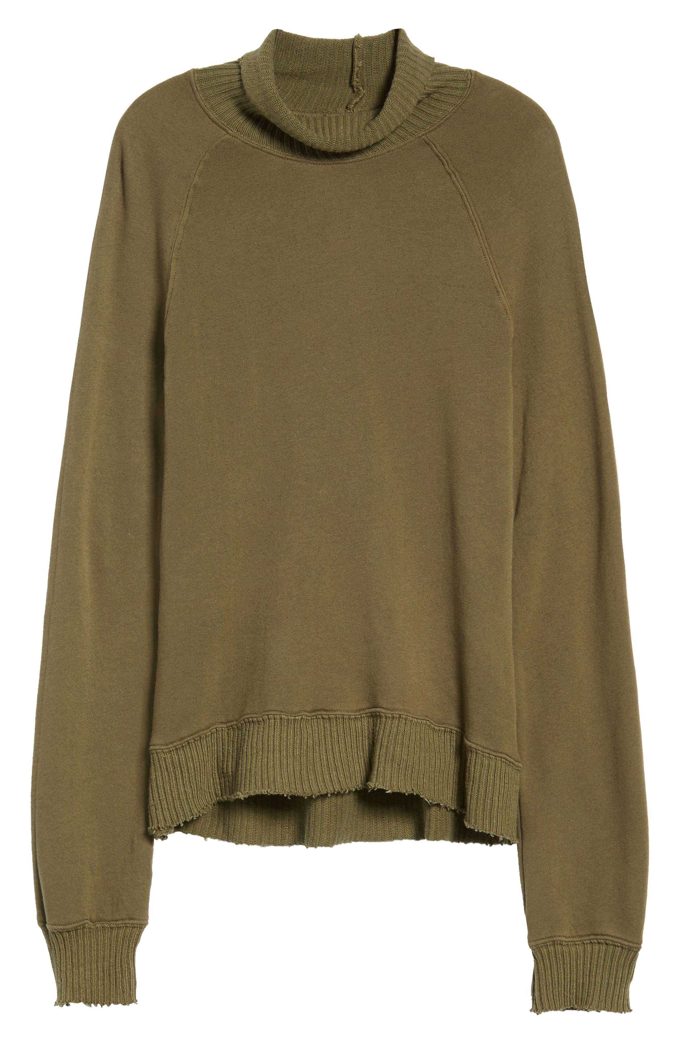 Distressed Fleece Turtleneck Sweatshirt,                             Alternate thumbnail 6, color,                             317