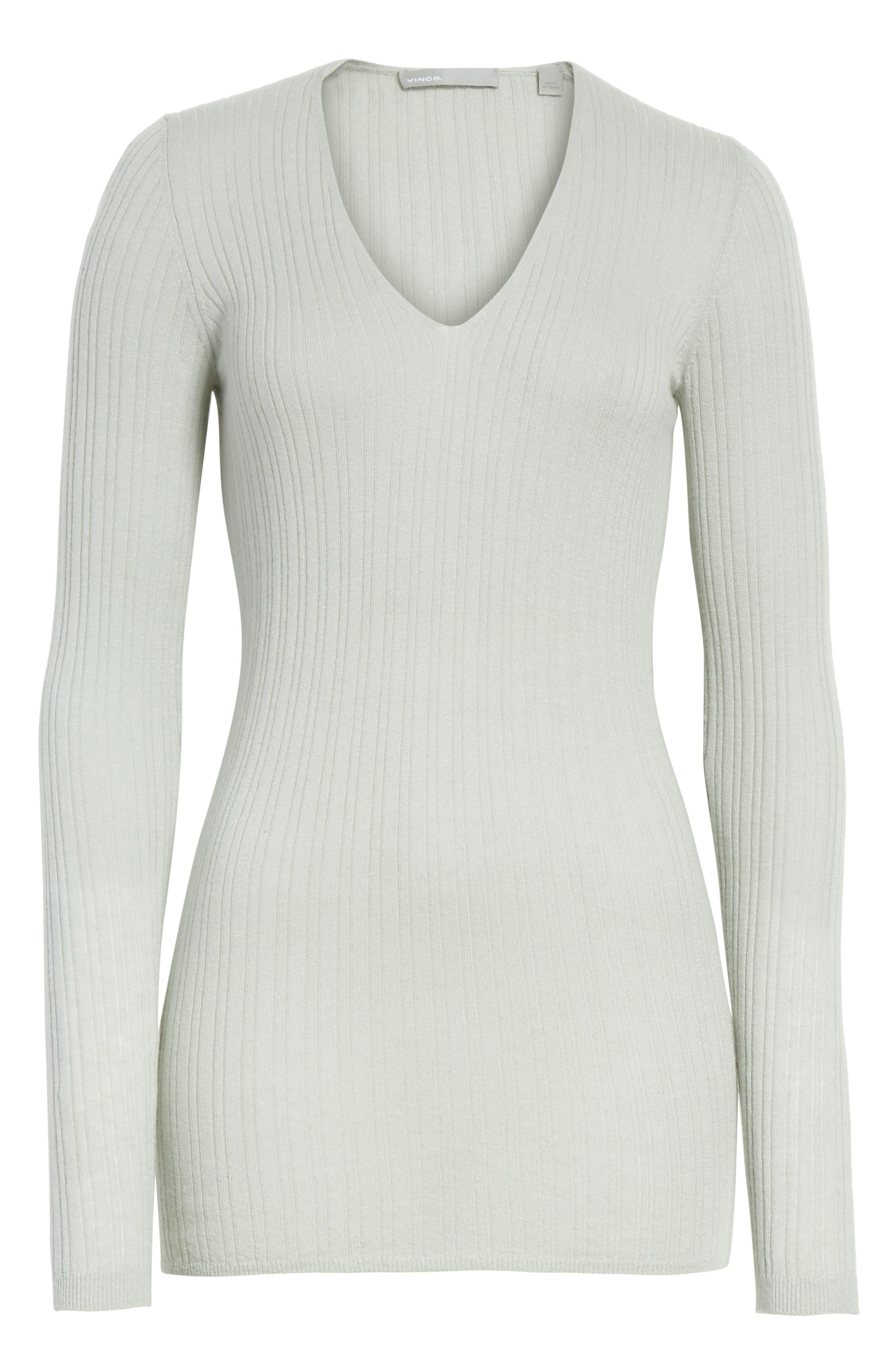 Ribbed Cashmere V-Neck Sweater,                             Alternate thumbnail 18, color,