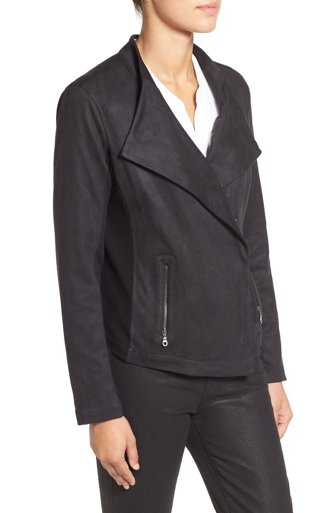 NIC+ZOE,                             Faux Suede Moto Jacket,                             Alternate thumbnail 3, color,                             004