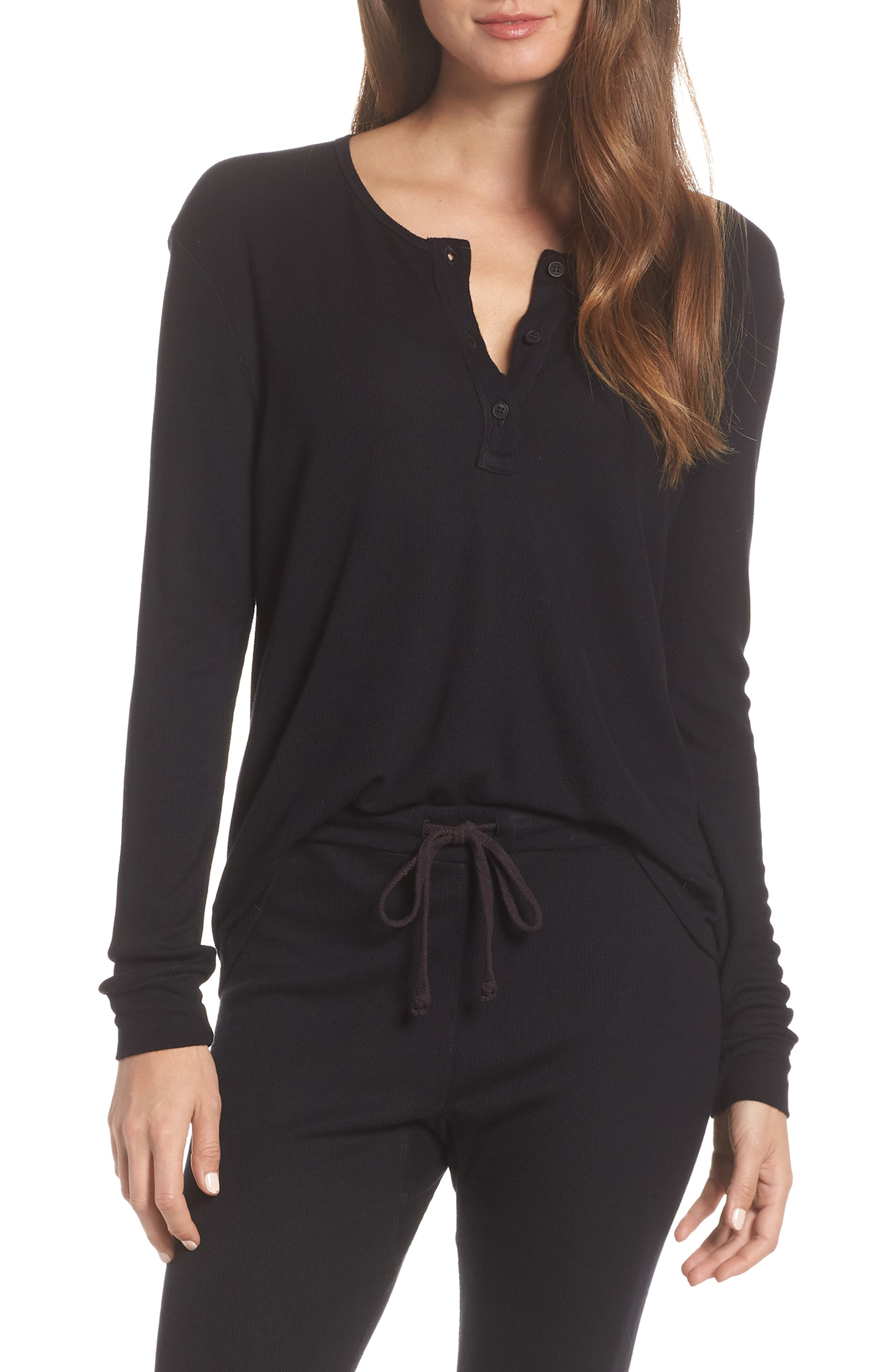 LACAUSA Chalet Thermal Henley in Tar
