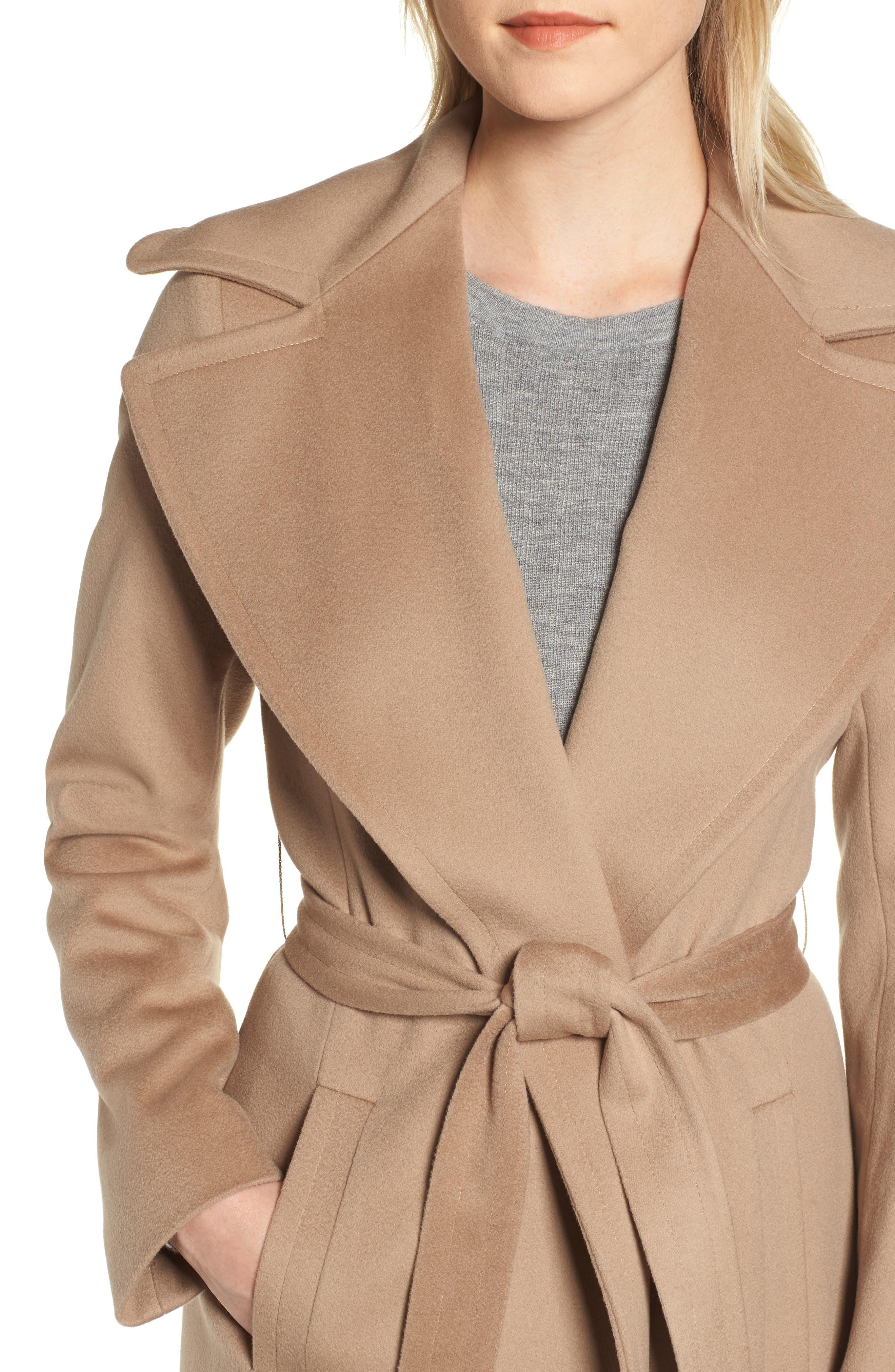 FLEURETTE,                             Loro Piana Wool Wrap Coat,                             Alternate thumbnail 5, color,                             CAMEL