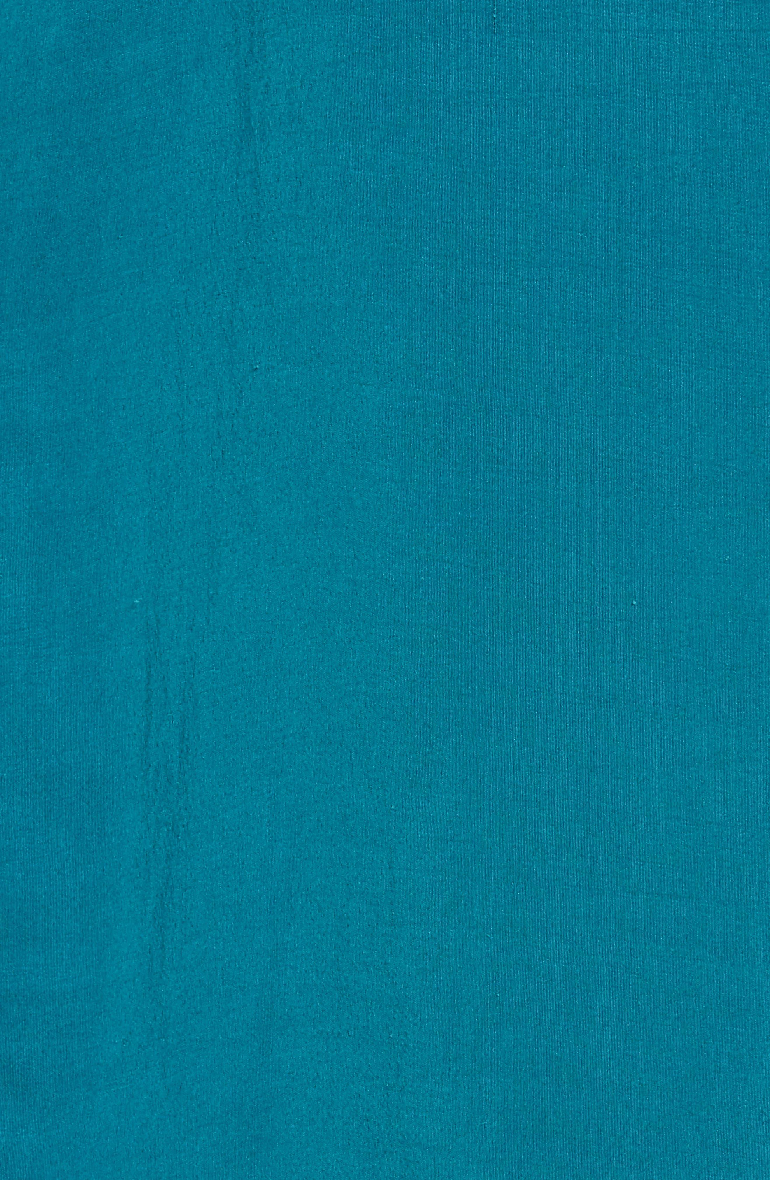 Long Classic Collar Silk Shirt,                             Alternate thumbnail 5, color,                             TEAL