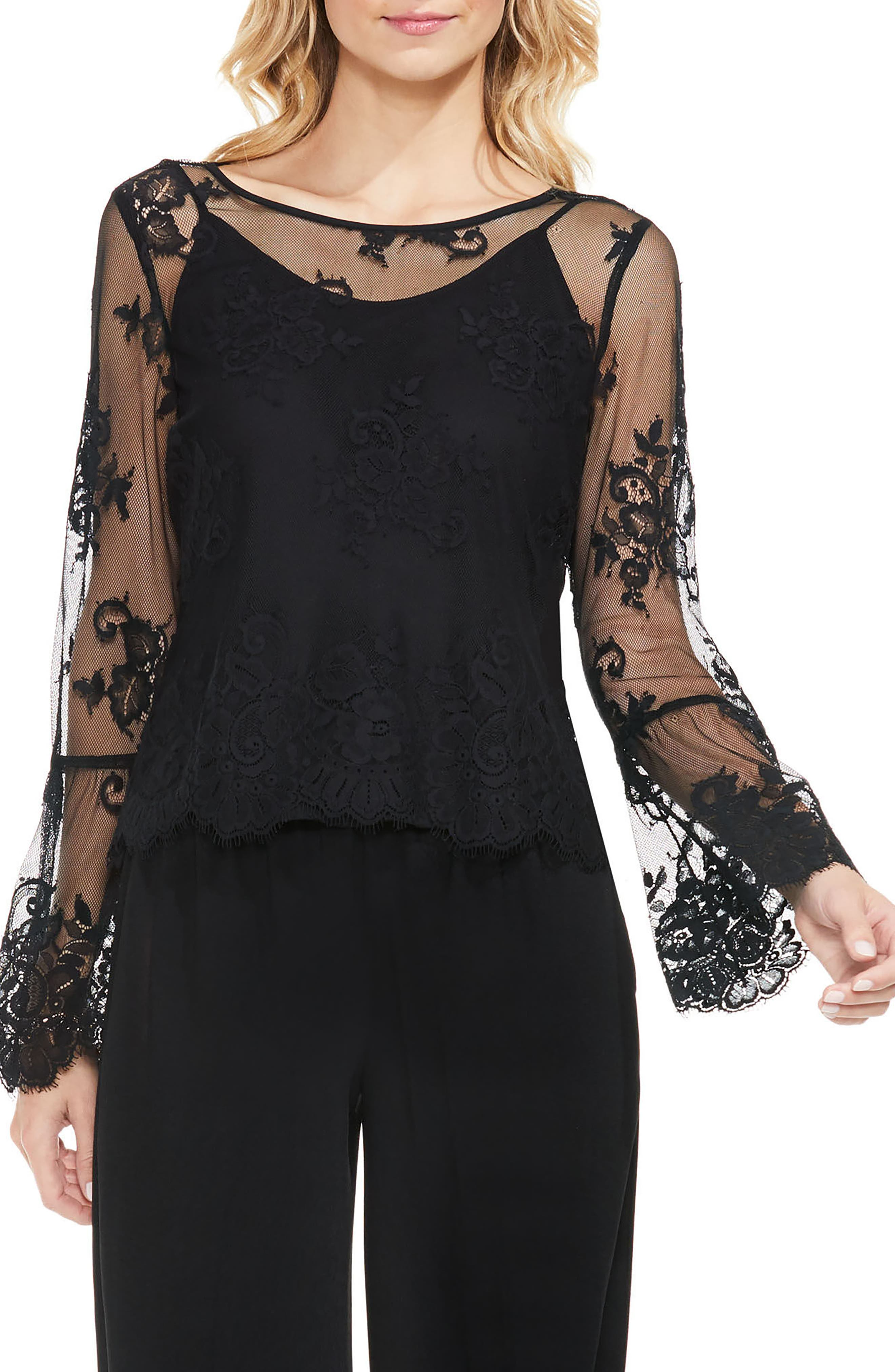 Bell Sleeve Mesh Lace Blouse,                             Main thumbnail 1, color,                             006
