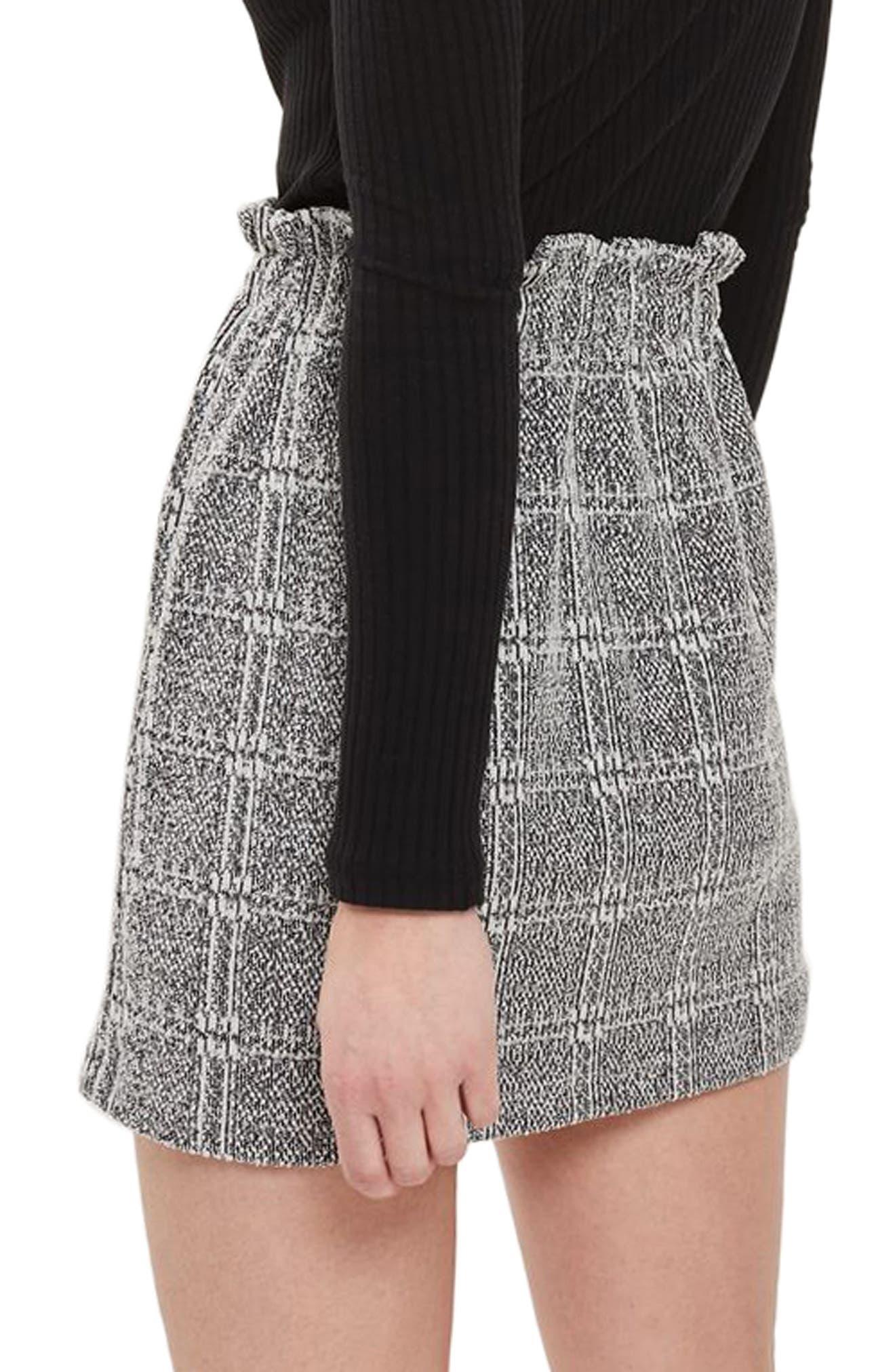 Paperbag Waist Checkered Skirt,                             Alternate thumbnail 2, color,                             020
