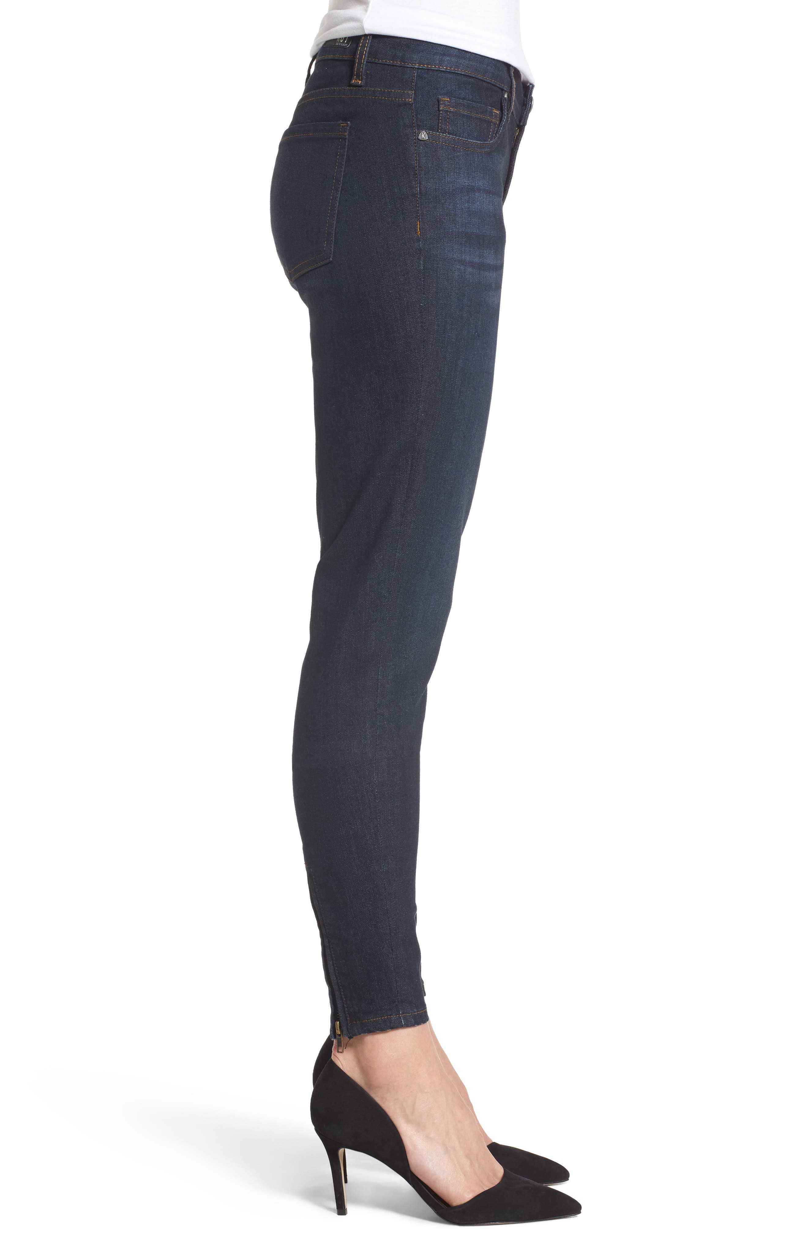 Connie Zip Back Skinny Ankle Jeans,                             Alternate thumbnail 3, color,                             419