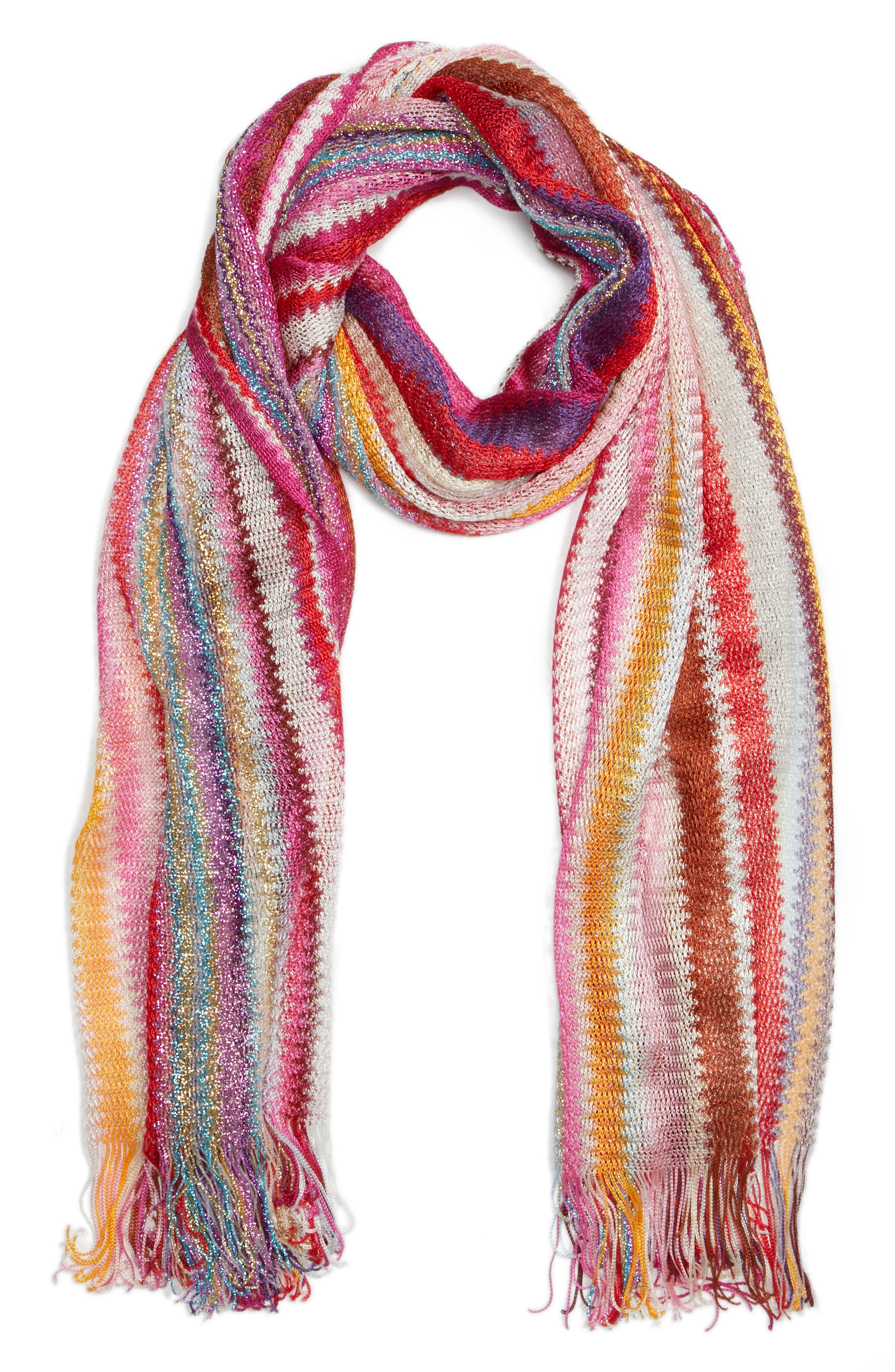 Zigzag Stripe Stole,                             Alternate thumbnail 3, color,                             MULTI PINK